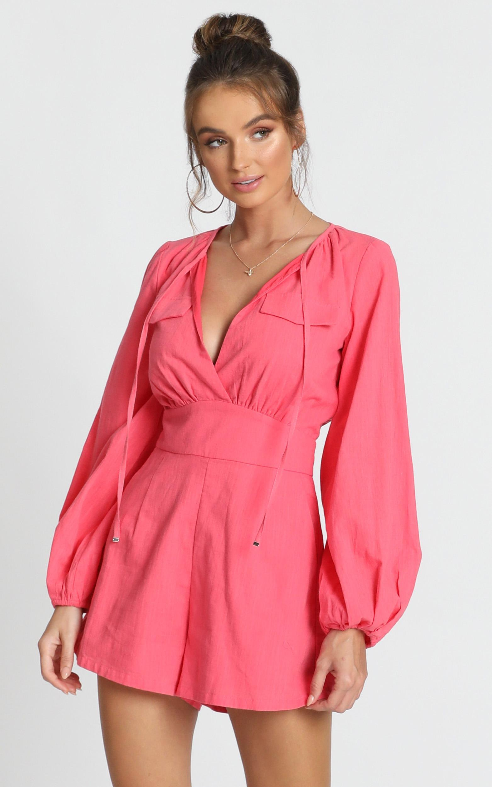 Moroccan Haze Playsuit in watermelon - 14 (XL), Pink, hi-res image number null