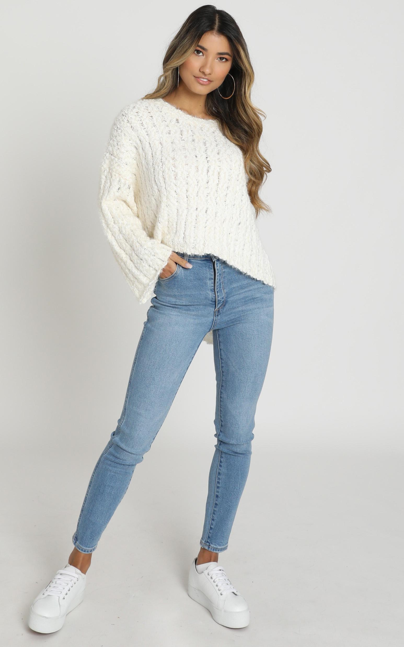 Bethen Fluffy Knit in Ivory - S/M, WHT3, hi-res image number null