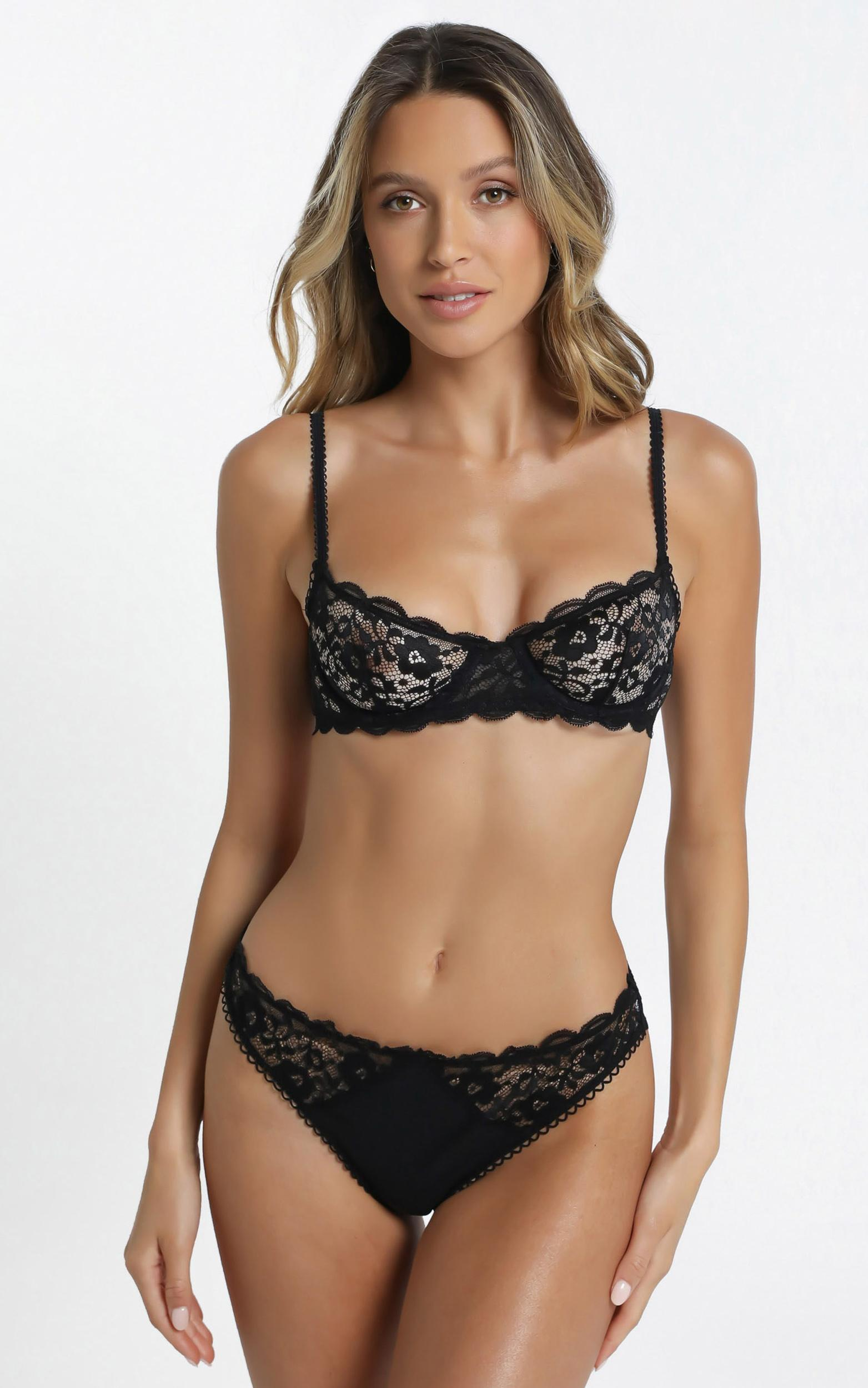Kat The Label - Annie Underwire Bra in Black Lace - XS, Black, hi-res image number null