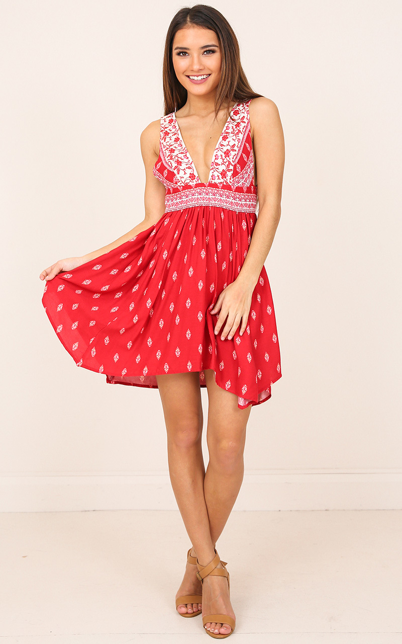 Chica dress in red print - 12 (L), Red, hi-res image number null