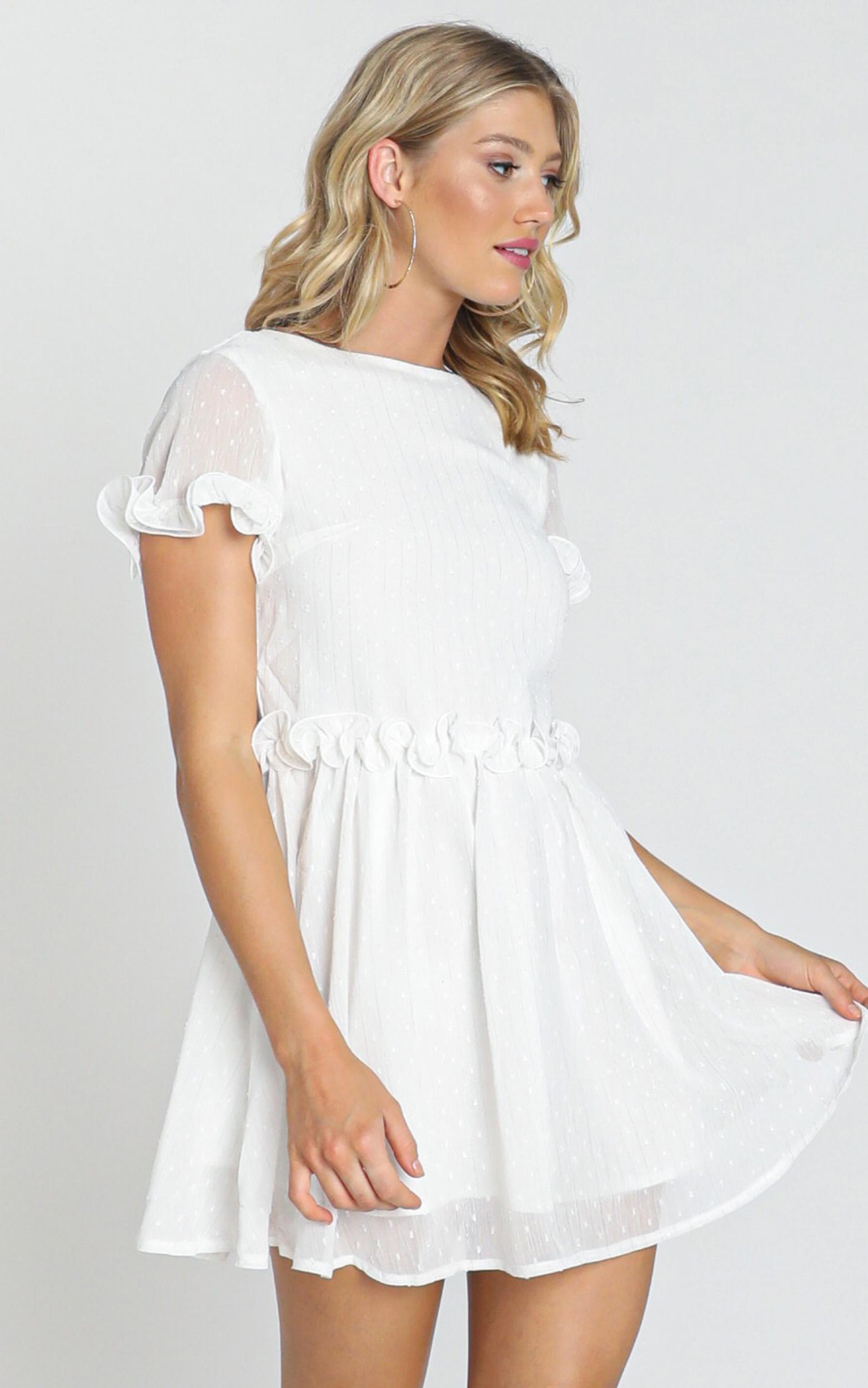 Larsa Textured Dobby Dress in white - 6 (XS), White, hi-res image number null