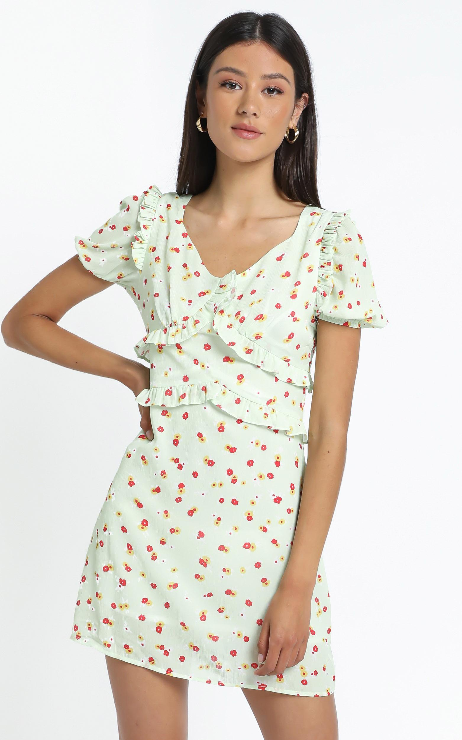 Lacie Dress in Green Floral - 12 (L), Green, hi-res image number null