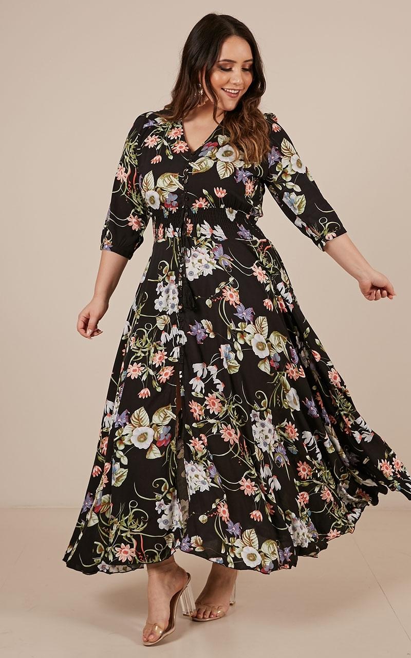 Lone Traveller maxi dress in black floral - 6 (XS), Black, hi-res image number null