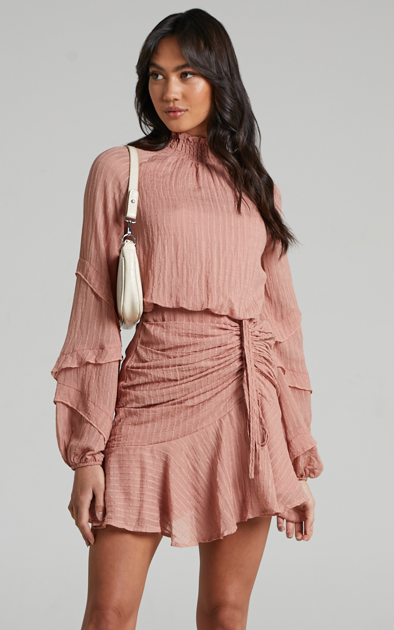 Mailee Long Sleeve Halter Neck Mini Dress in Dusty Rose - 04, PNK1, hi-res image number null