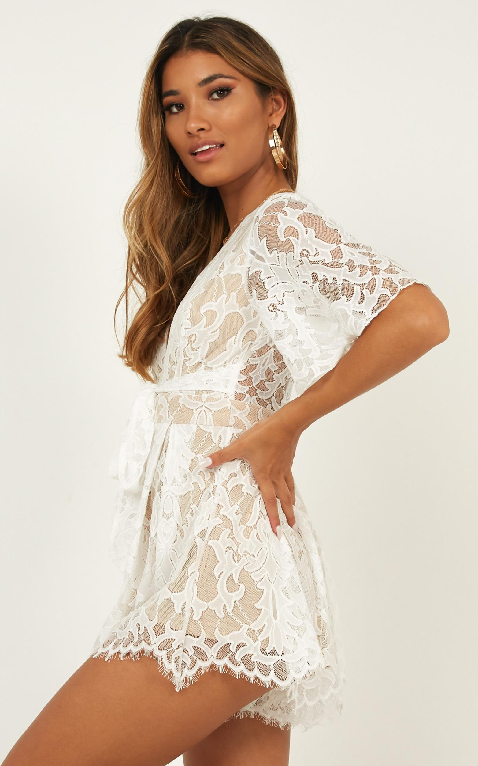 Break the Bar playsuit in white lace - 20 (XXXXL), White, hi-res image number null
