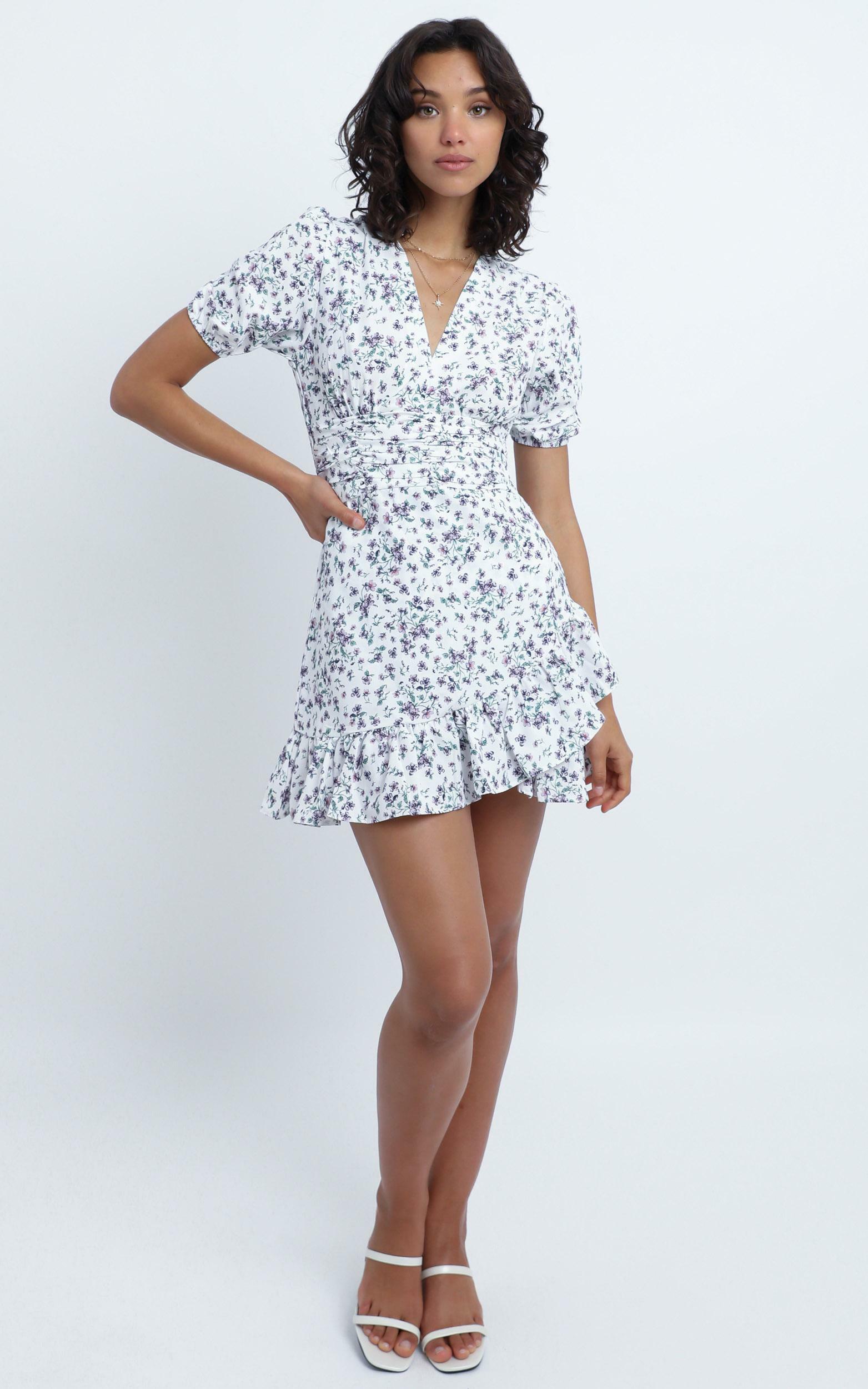 Kella Dress in White Floral - 12 (L), WHT1, hi-res image number null