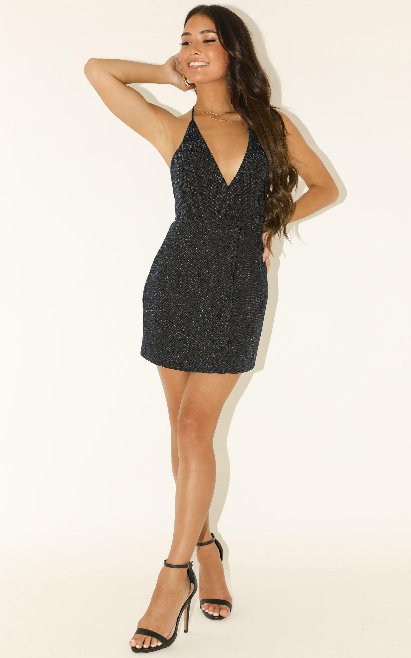 Lioness - Turn Heads Dress In Midnight Lurex - 12 (L), Navy, hi-res image number null