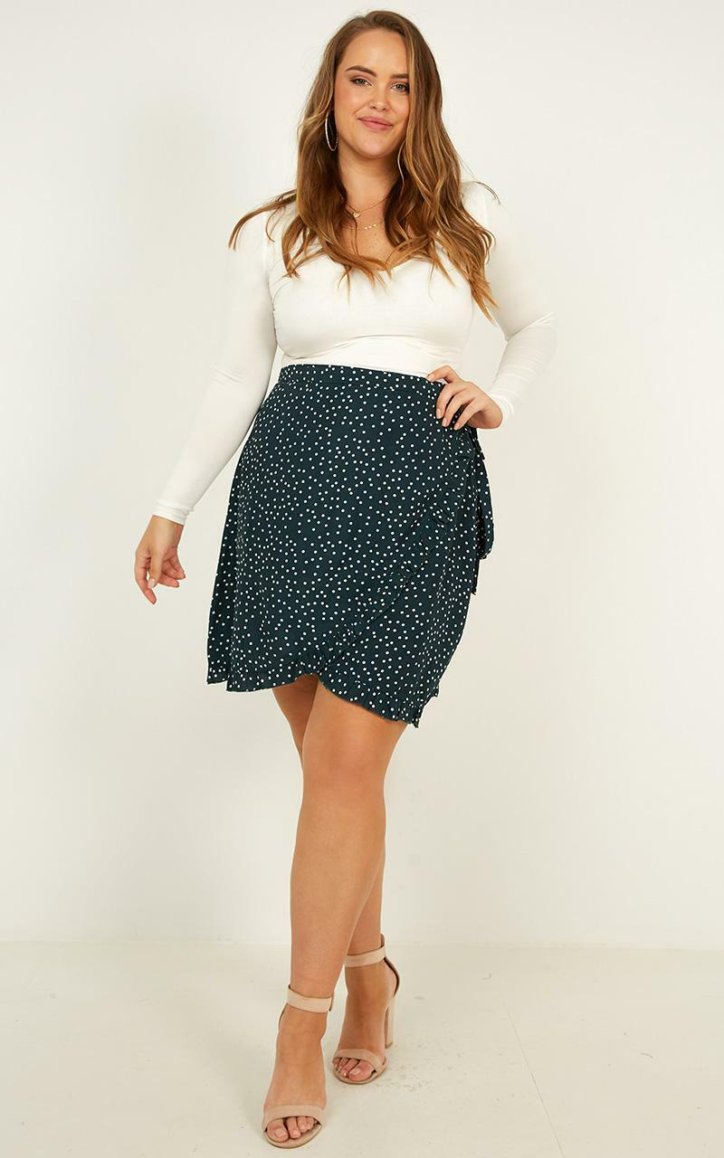 Started With A Kiss Skirt In Teal Spot - 20 (XXXXL), Green, hi-res image number null