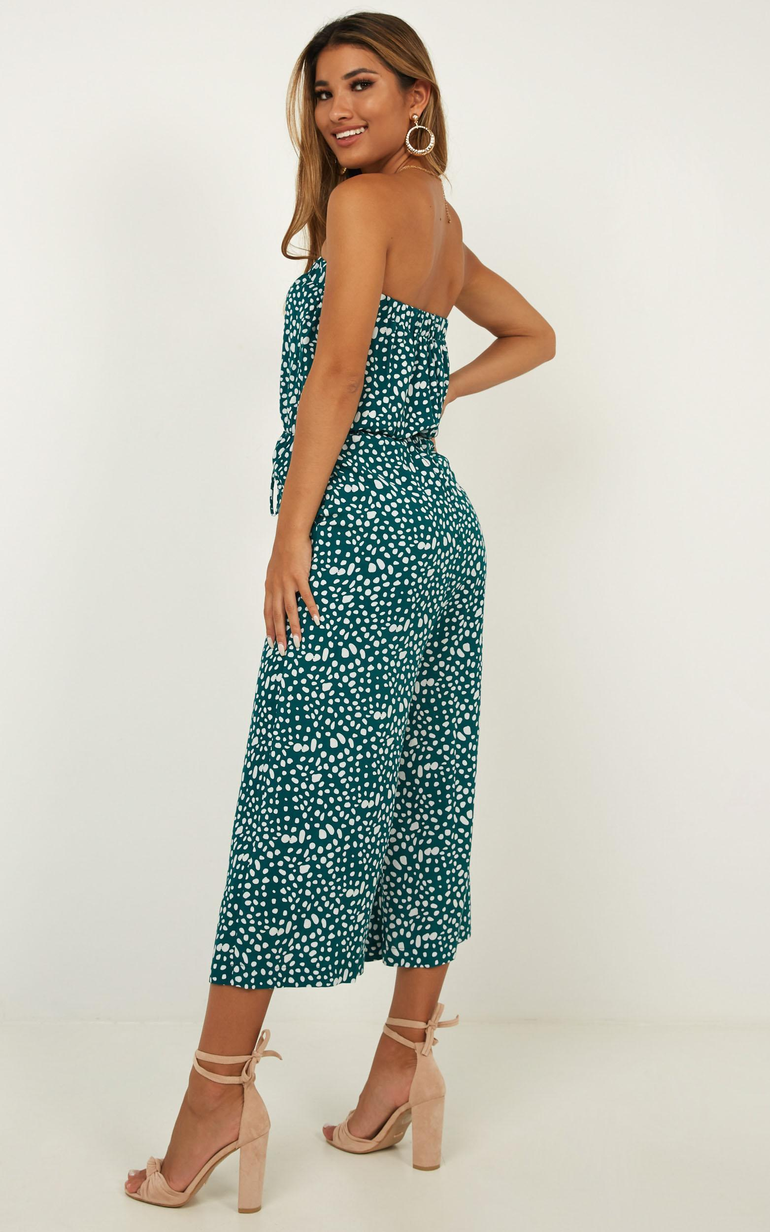 Move Yourself To Dance Jumpsuit in emerald print - 14 (XL), Green, hi-res image number null