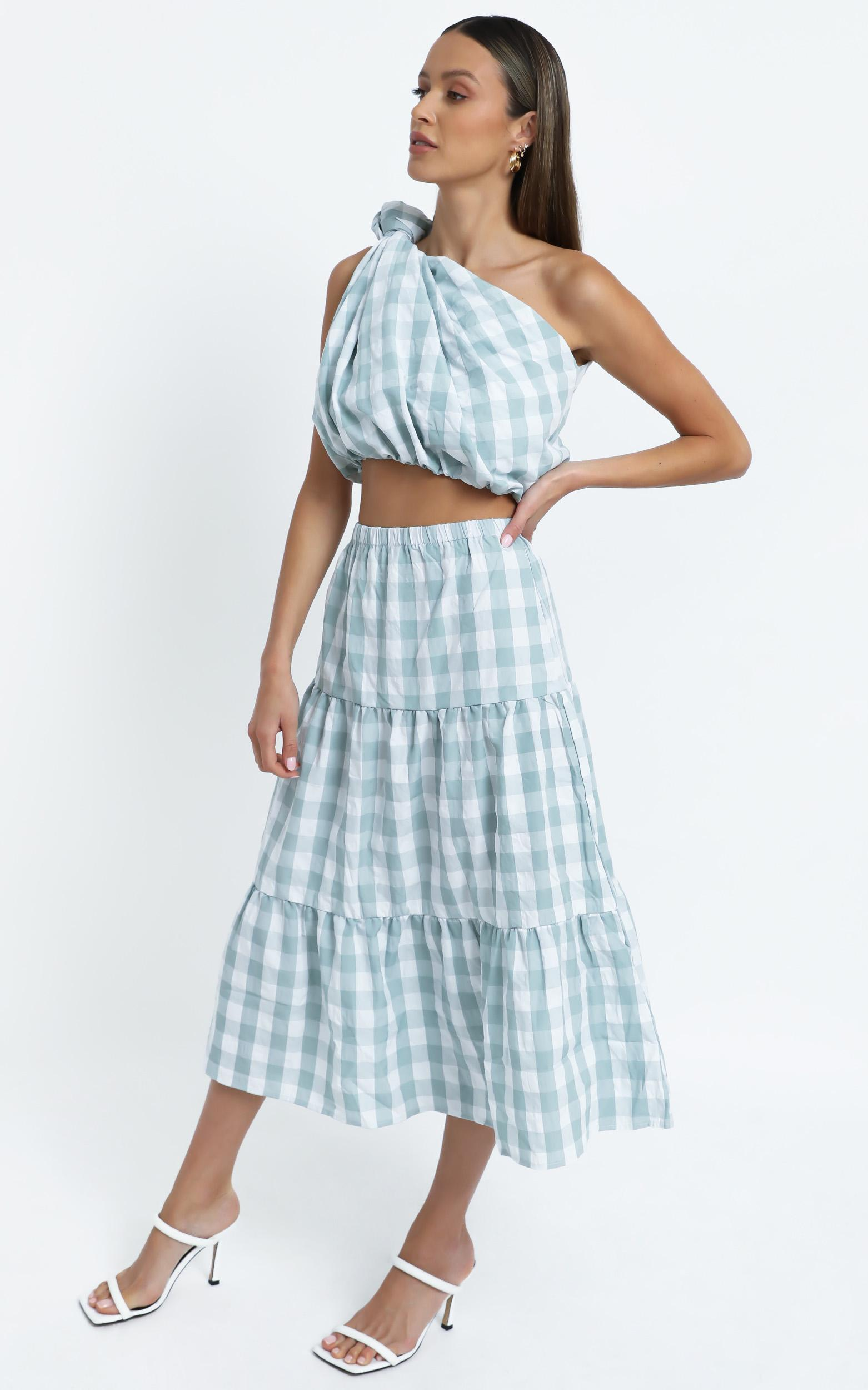 Thea Two Piece Set in Sage Check - 14 (XL), Sage, hi-res image number null