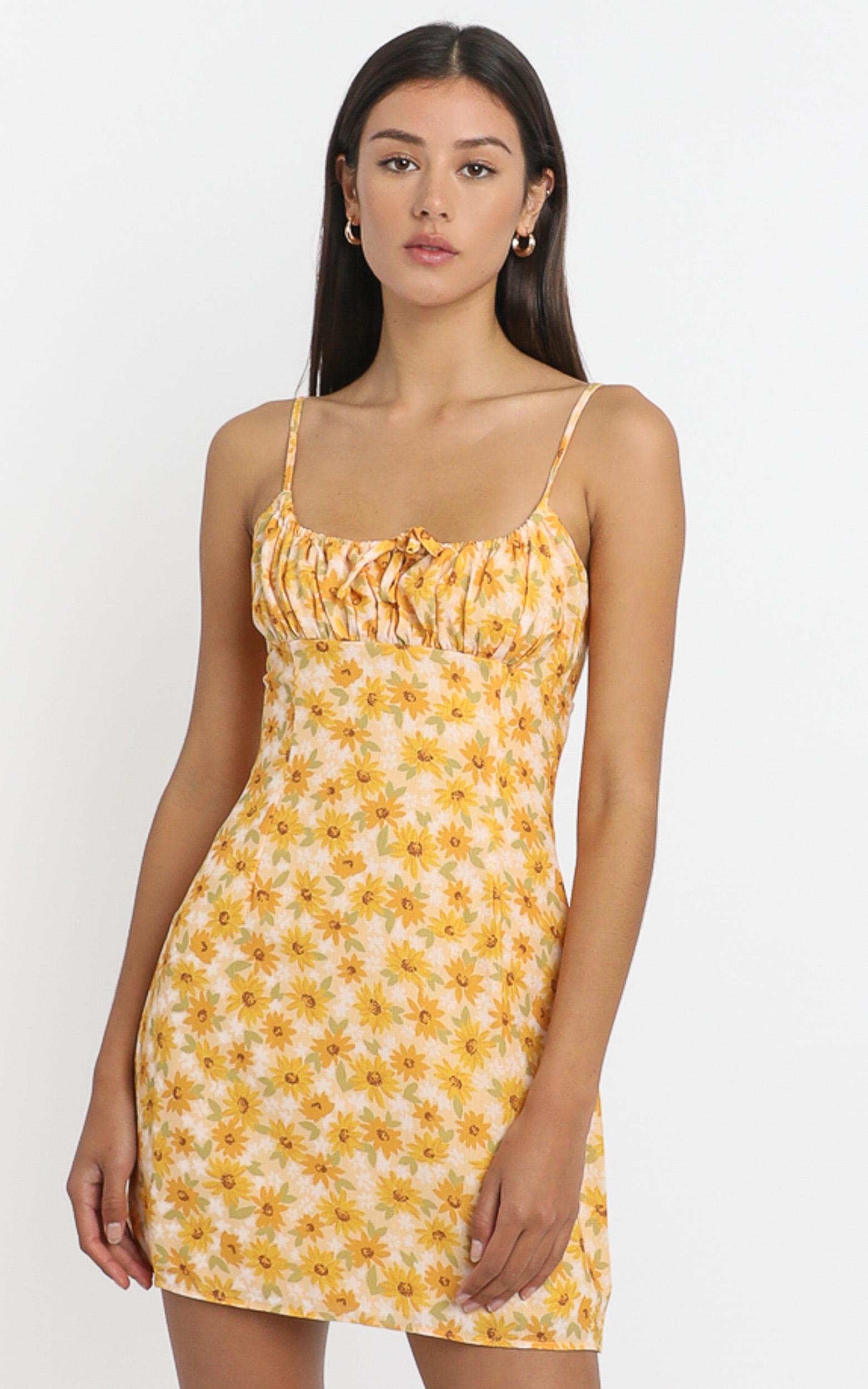 Sunday Session Dress in sunflower print - 4 (XXS), Yellow, hi-res image number null