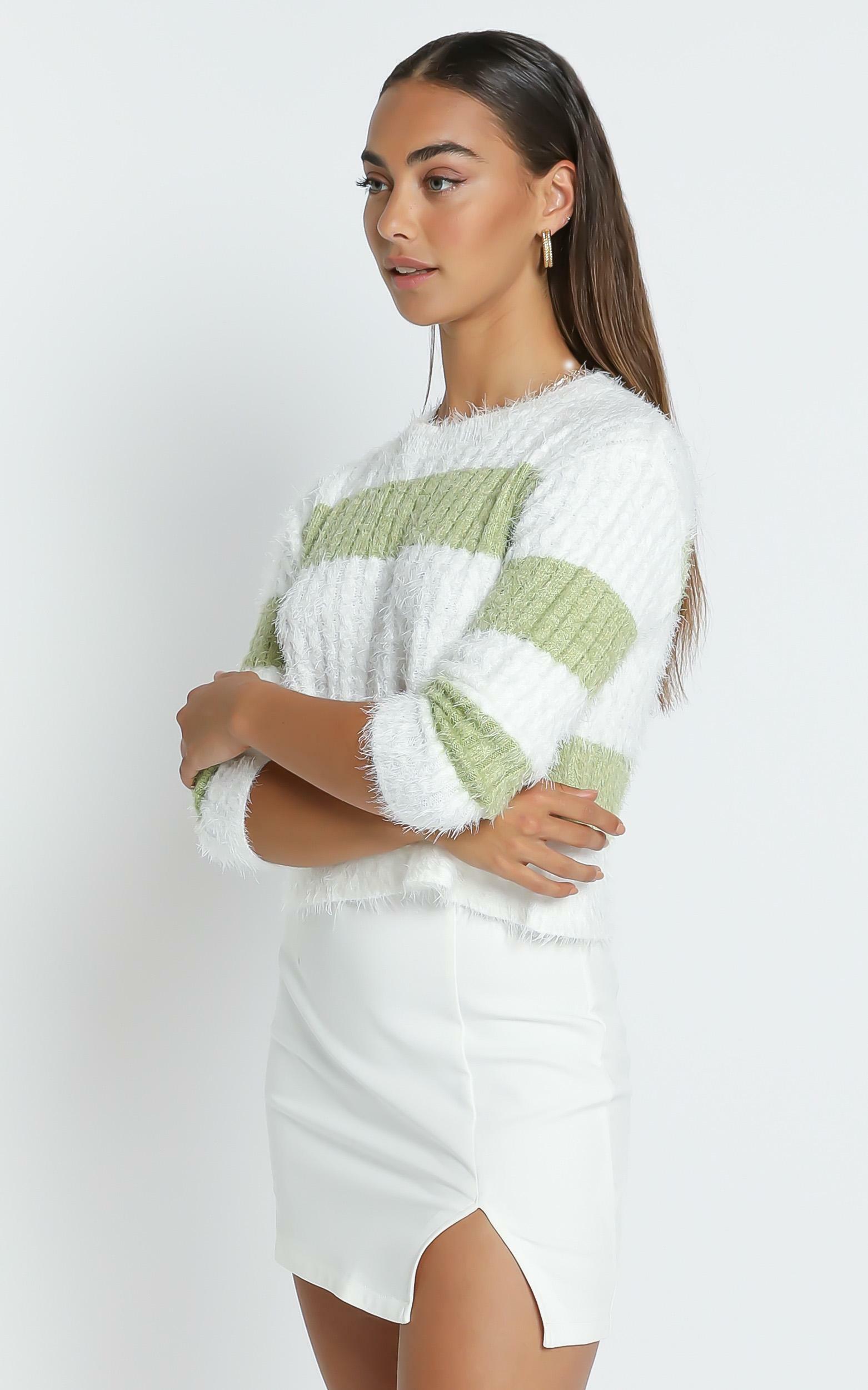 Dalziel Knit Jumper in Sage & White Stripe - S/M, Sage, hi-res image number null