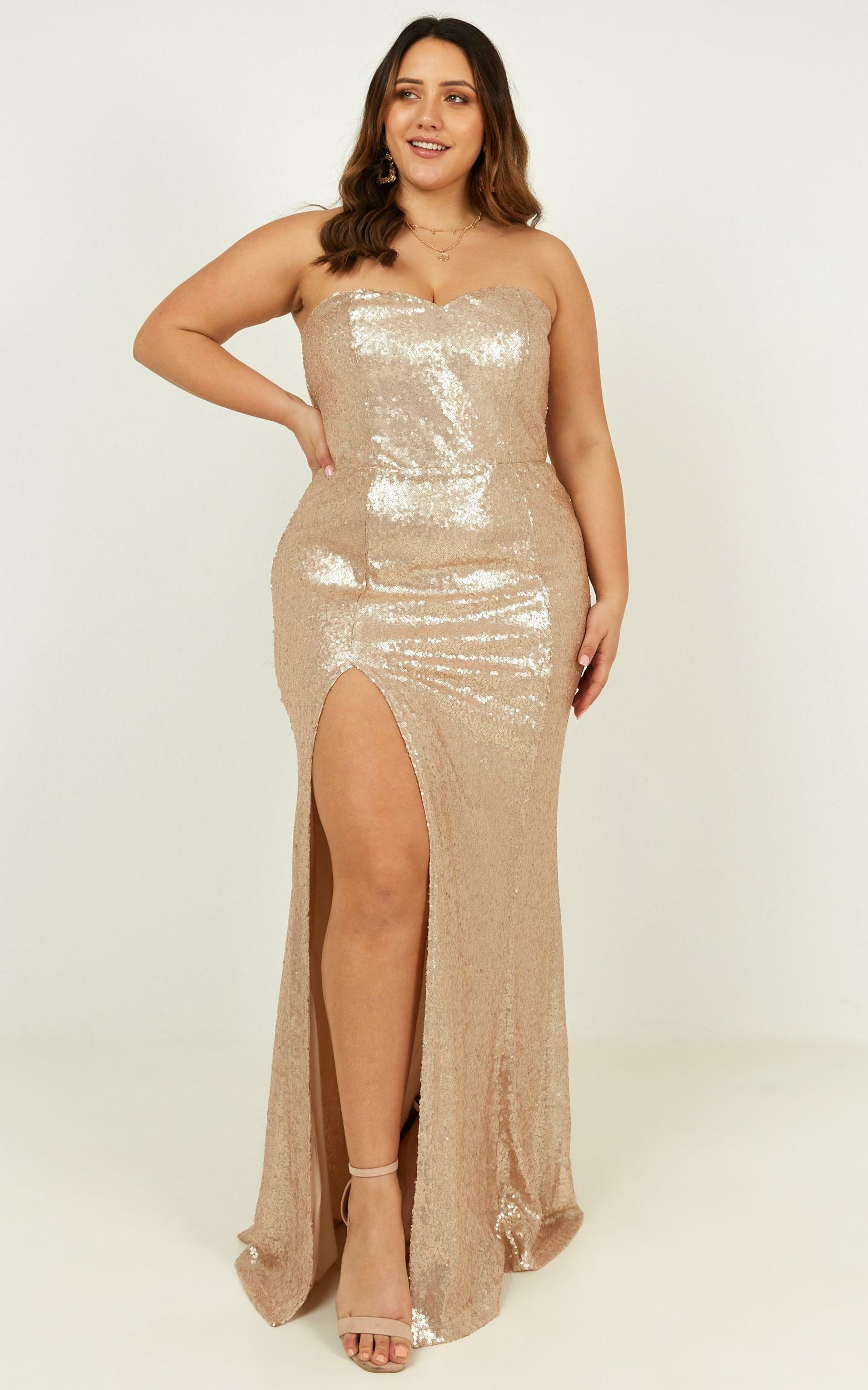 Shimmer Shimmer Dress in champagne sequin - 18 (XXXL), Beige, hi-res image number null