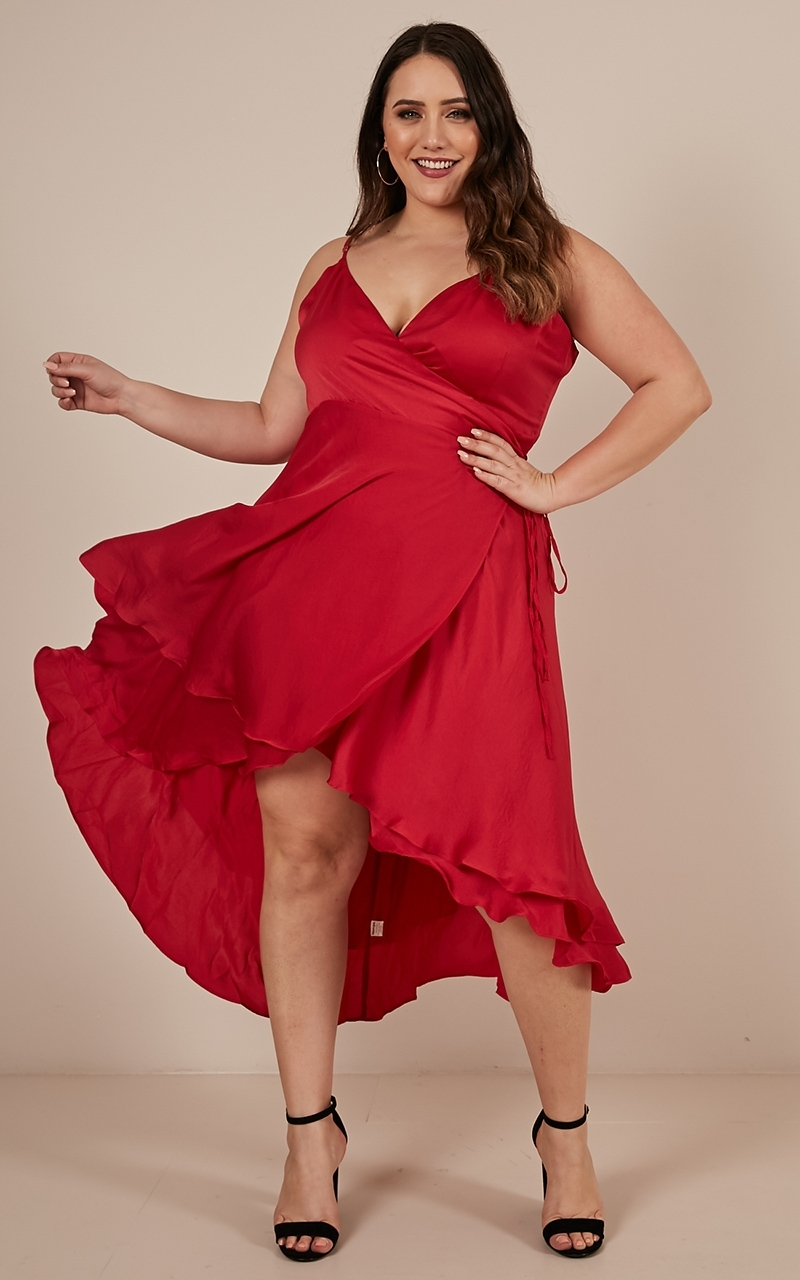 Between Fantasy Dress In Red Satin - 6 (XS), RED1, hi-res image number null