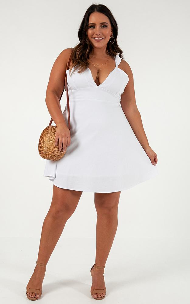 Inside Out Dress in white linen look - 20 (XXXXL), White, hi-res image number null