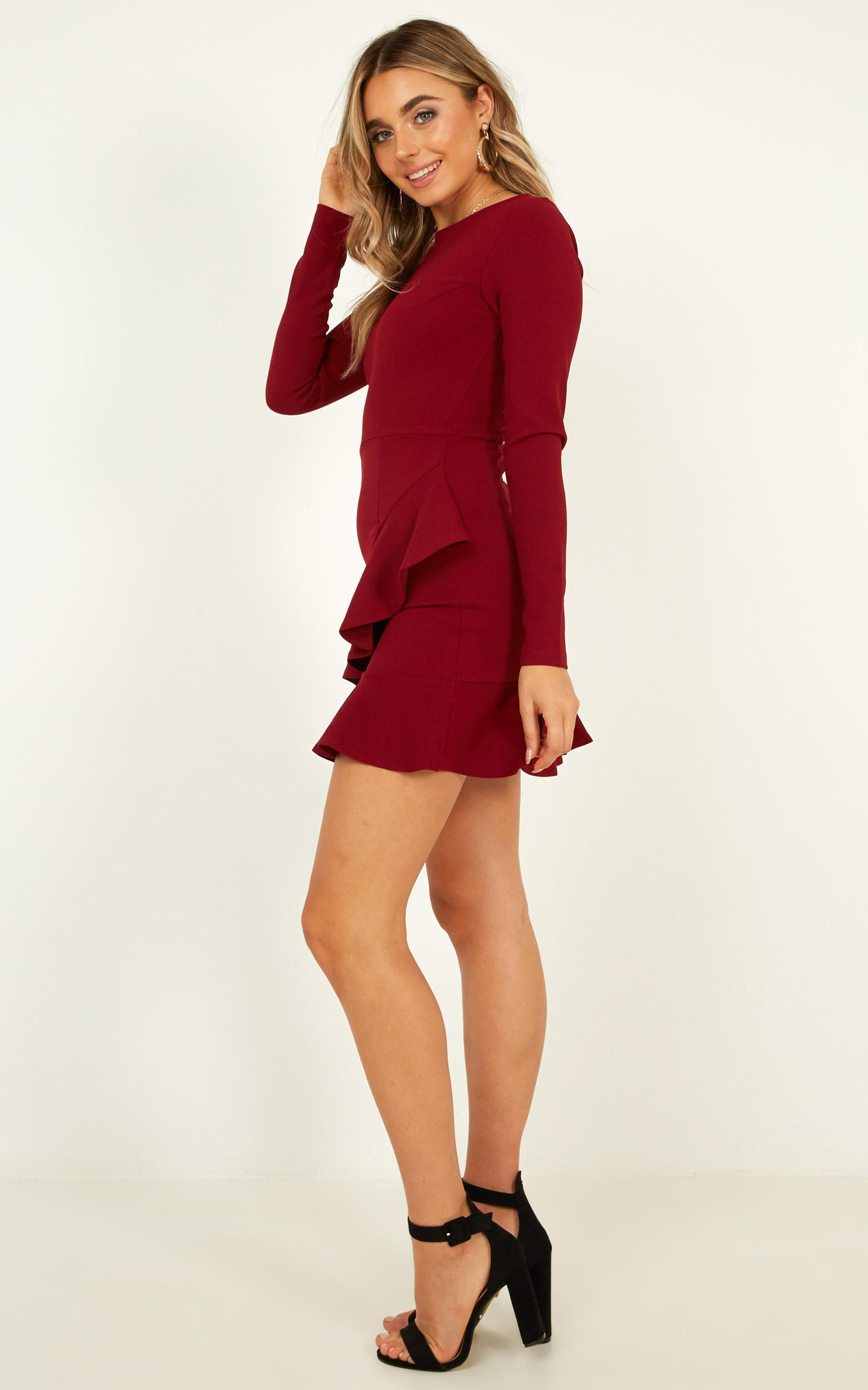 Cant See You dress in Wine - 4 (XXS), Wine, hi-res image number null