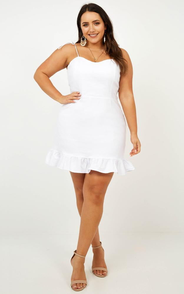 Celebrate The Day Dress in white linen look - 20 (XXXXL), White, hi-res image number null