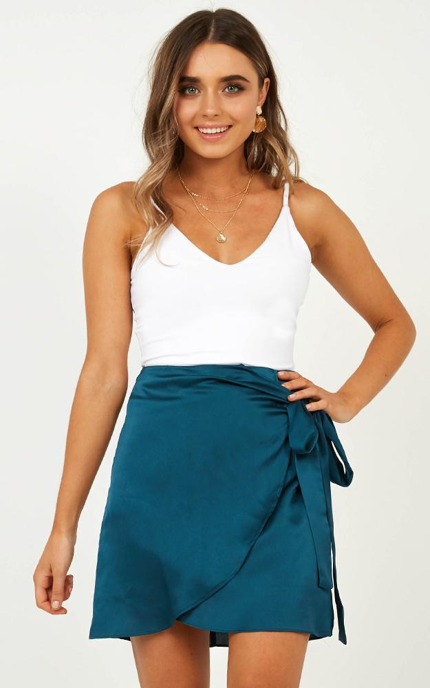Lost At Night skirt in teal satin, Green, hi-res image number null
