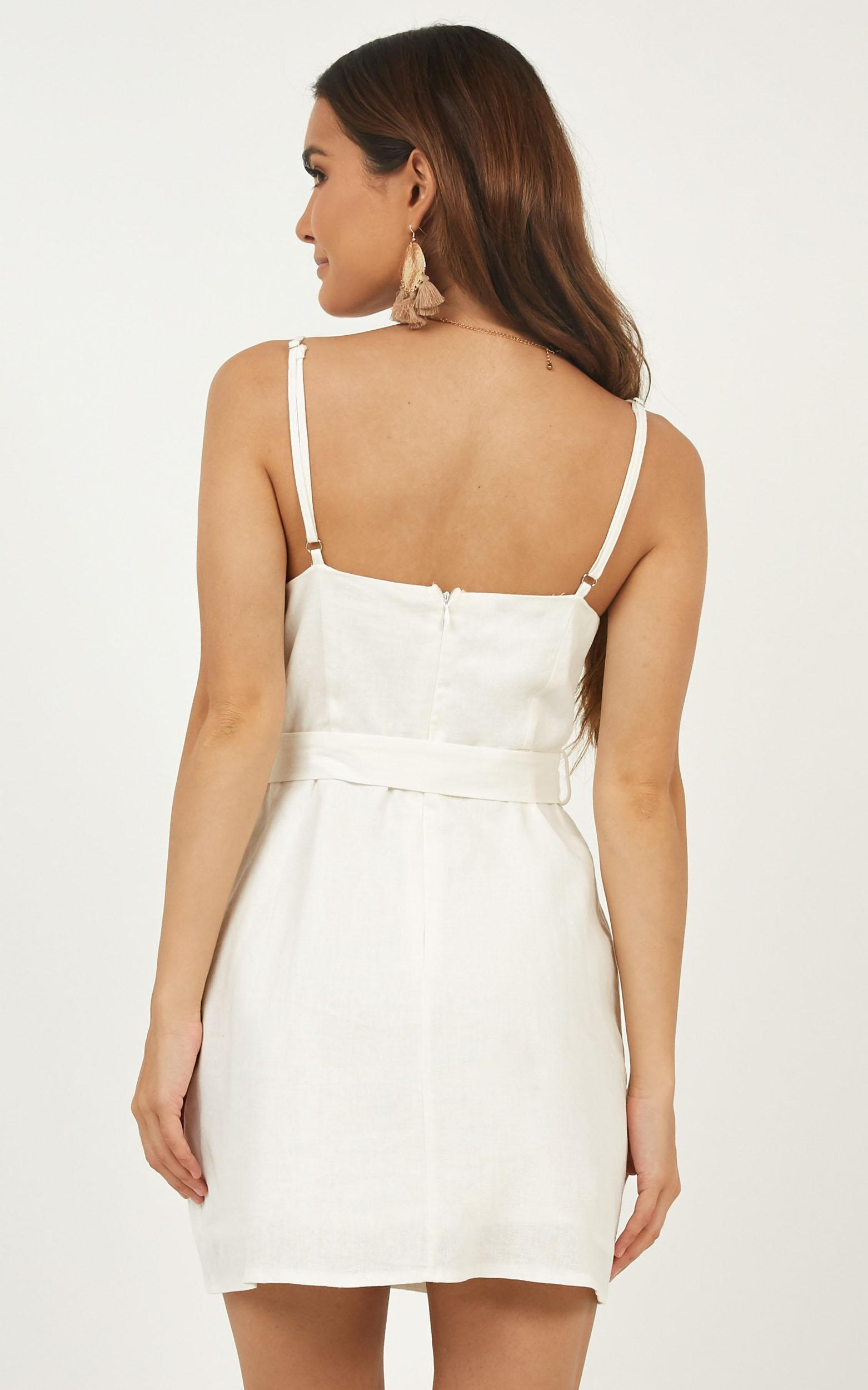 In A Rush Wrap Dress in white linen look - 12 (L), White, hi-res image number null