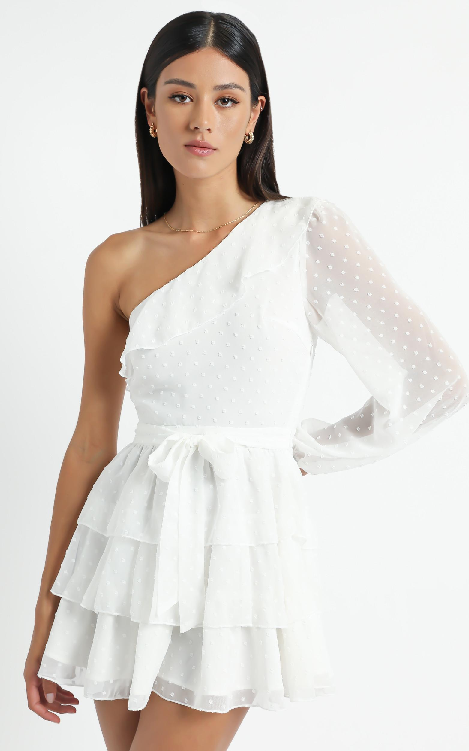 Day Dreamer One Shoulder Mini Dress in White - 4 (XXS), White, hi-res image number null
