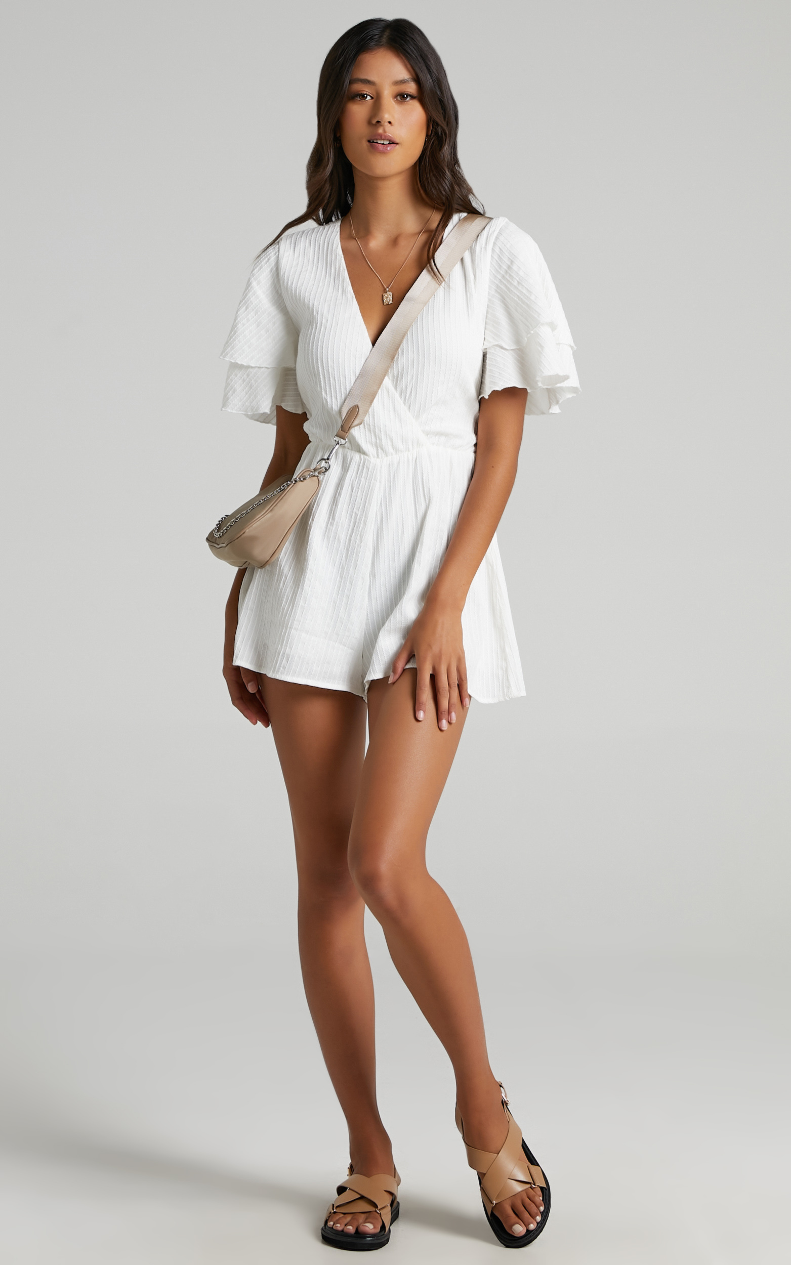 Run Away Girl Playsuit in White - 20, WHT2, hi-res image number null