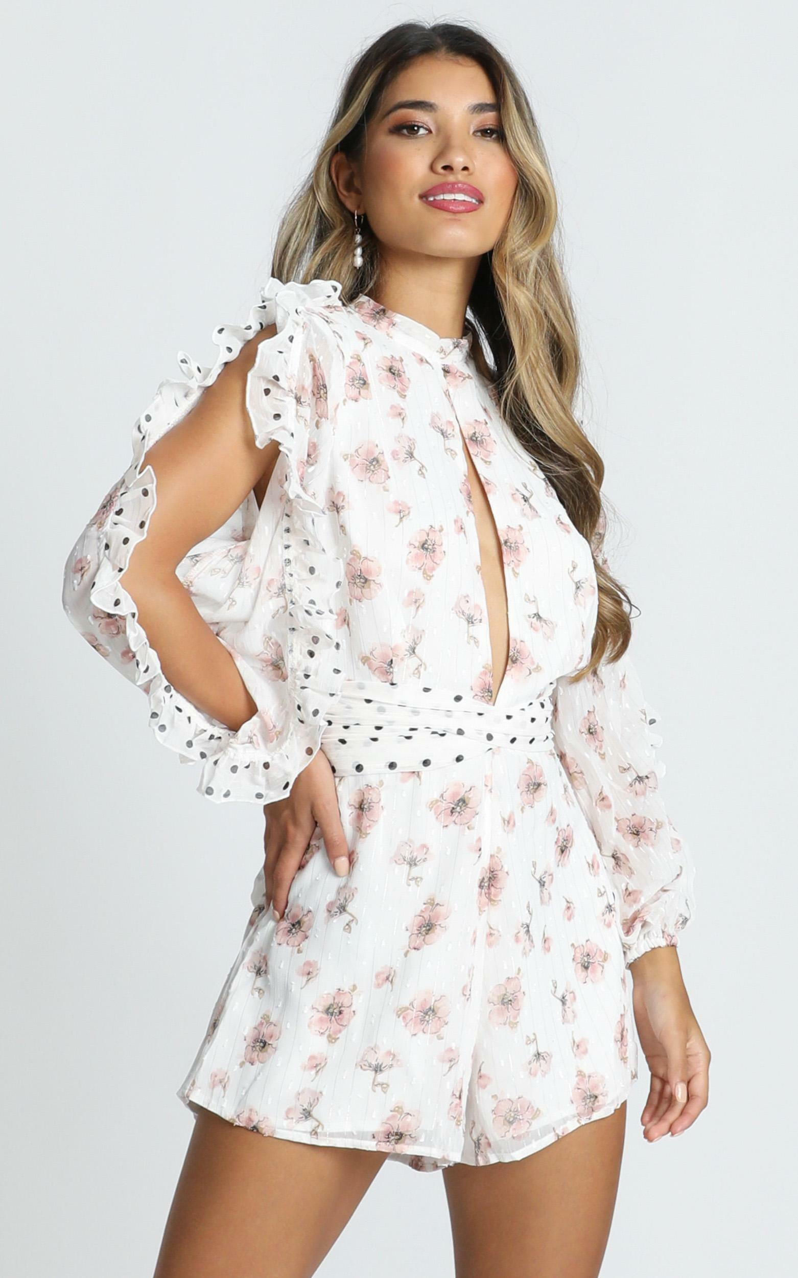 Lets Go On A Date Playsuit in white floral - 20 (XXXXL), White, hi-res image number null