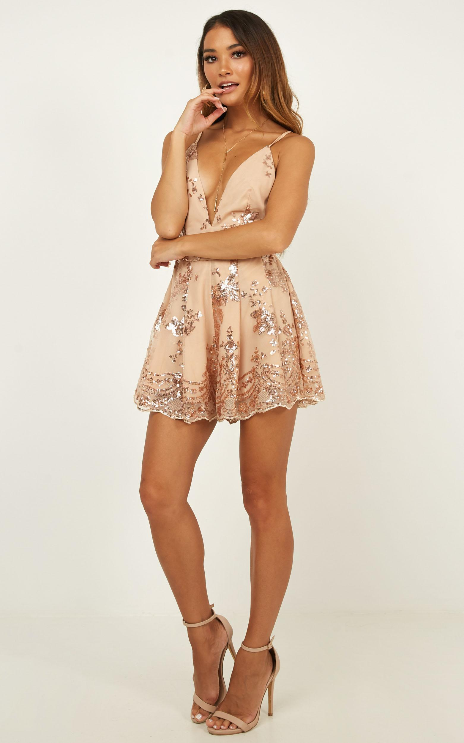 Boys Lining Up Playsuit in rose gold sequin - 20 (XXXXL), Rose Gold, hi-res image number null