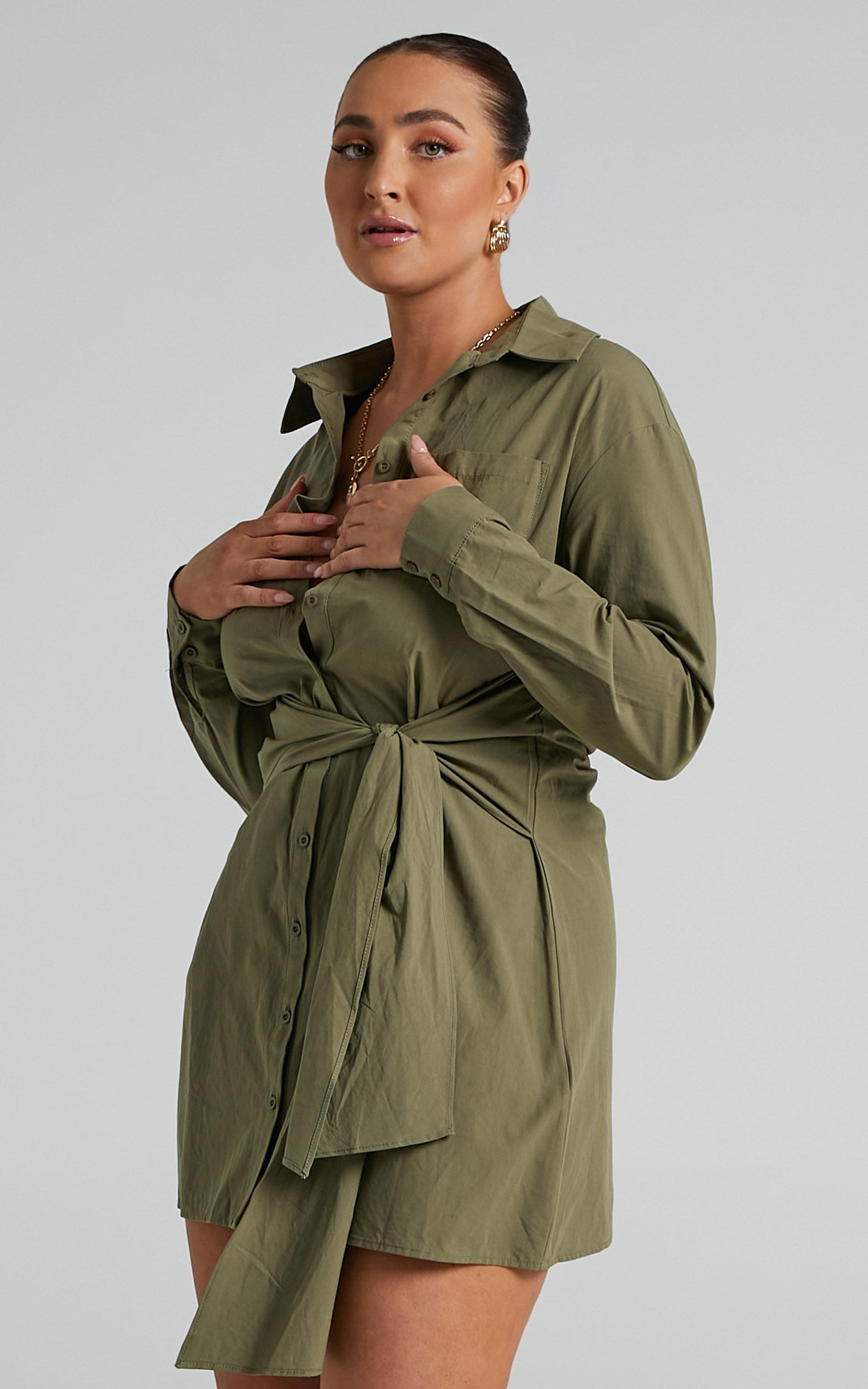 Macie Tie Front Shirt Mini Dress in Khaki - 04, GRN2, hi-res image number null