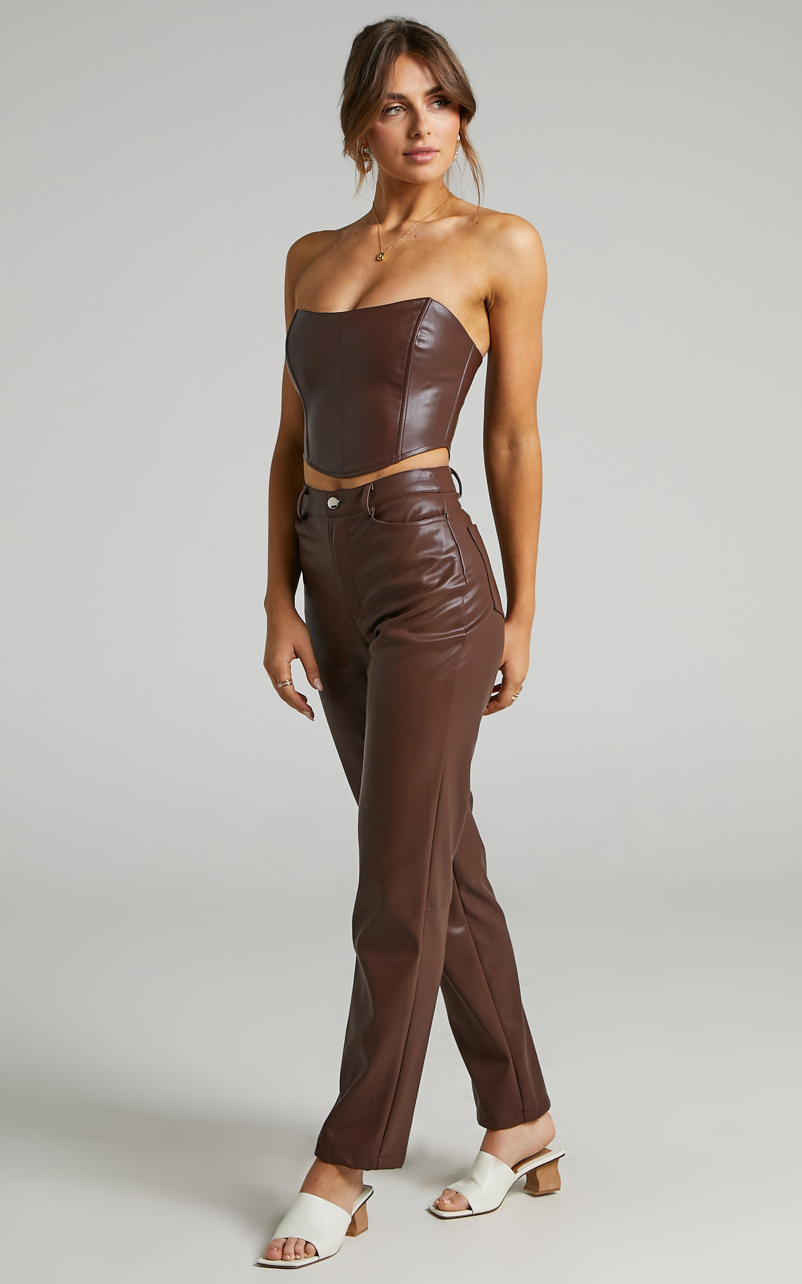 Lorrin Corset in Chocolate Leatherette - 06, BRN3, hi-res image number null