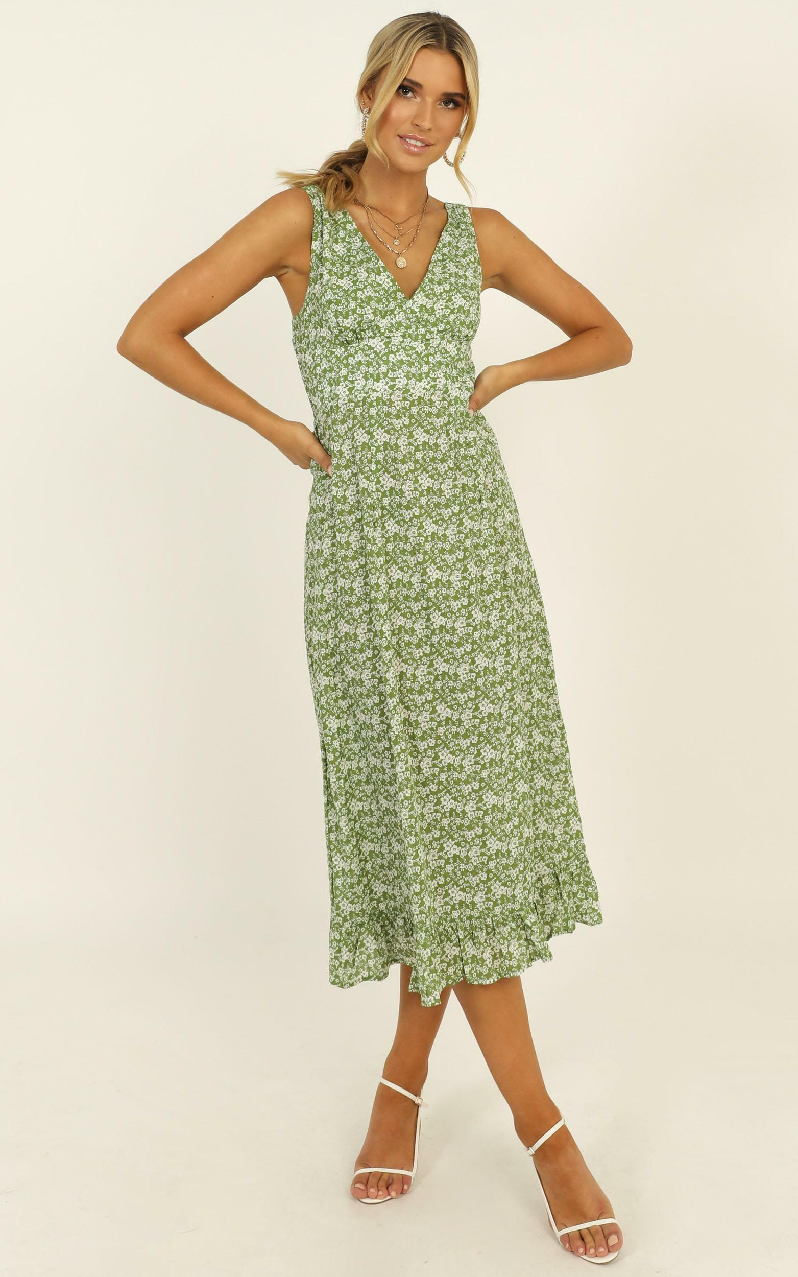 Last Survivor Dress in green floral - 14 (XL), Green, hi-res image number null