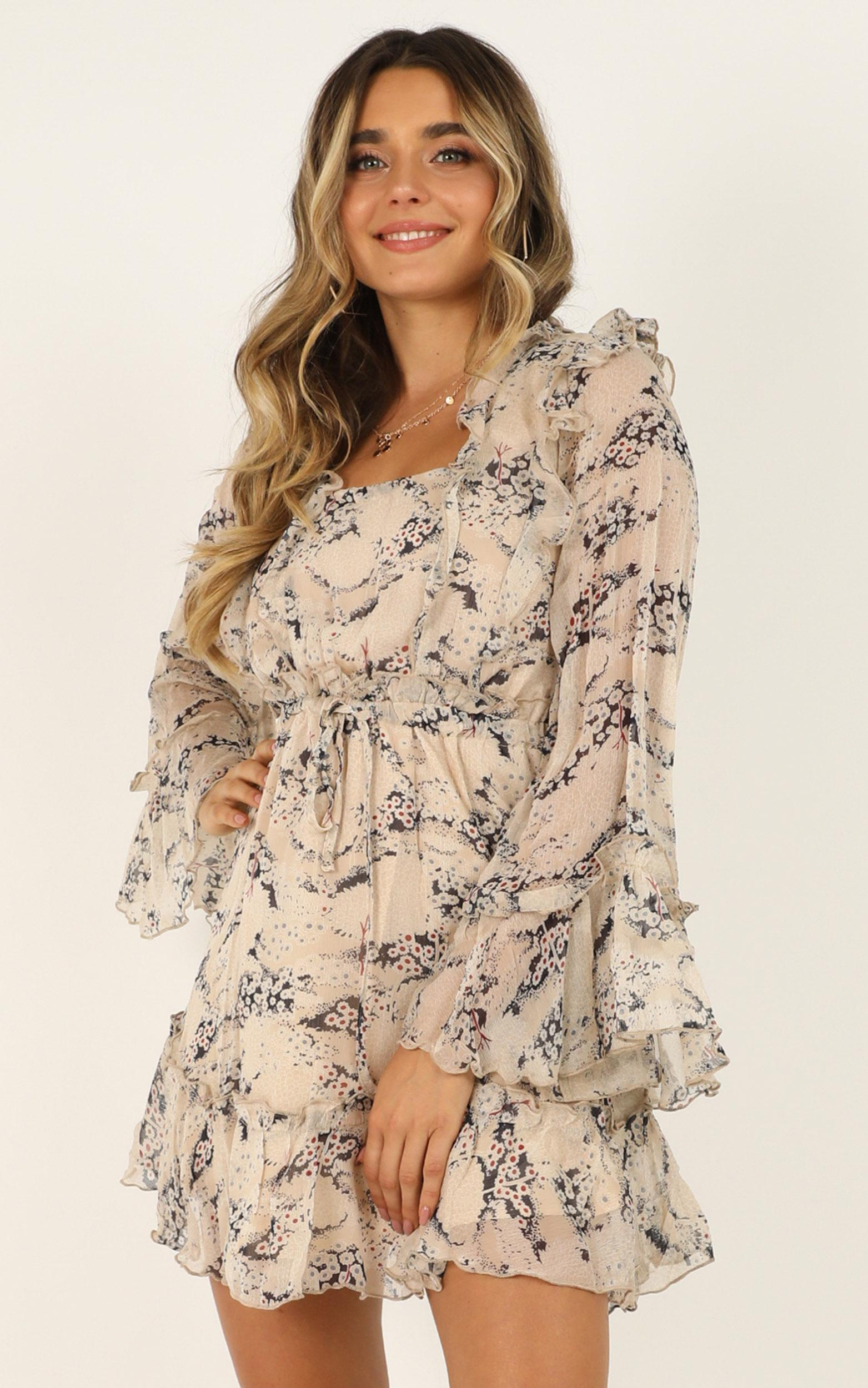One Time Thing dress in cream floral - 12 (L), Cream, hi-res image number null