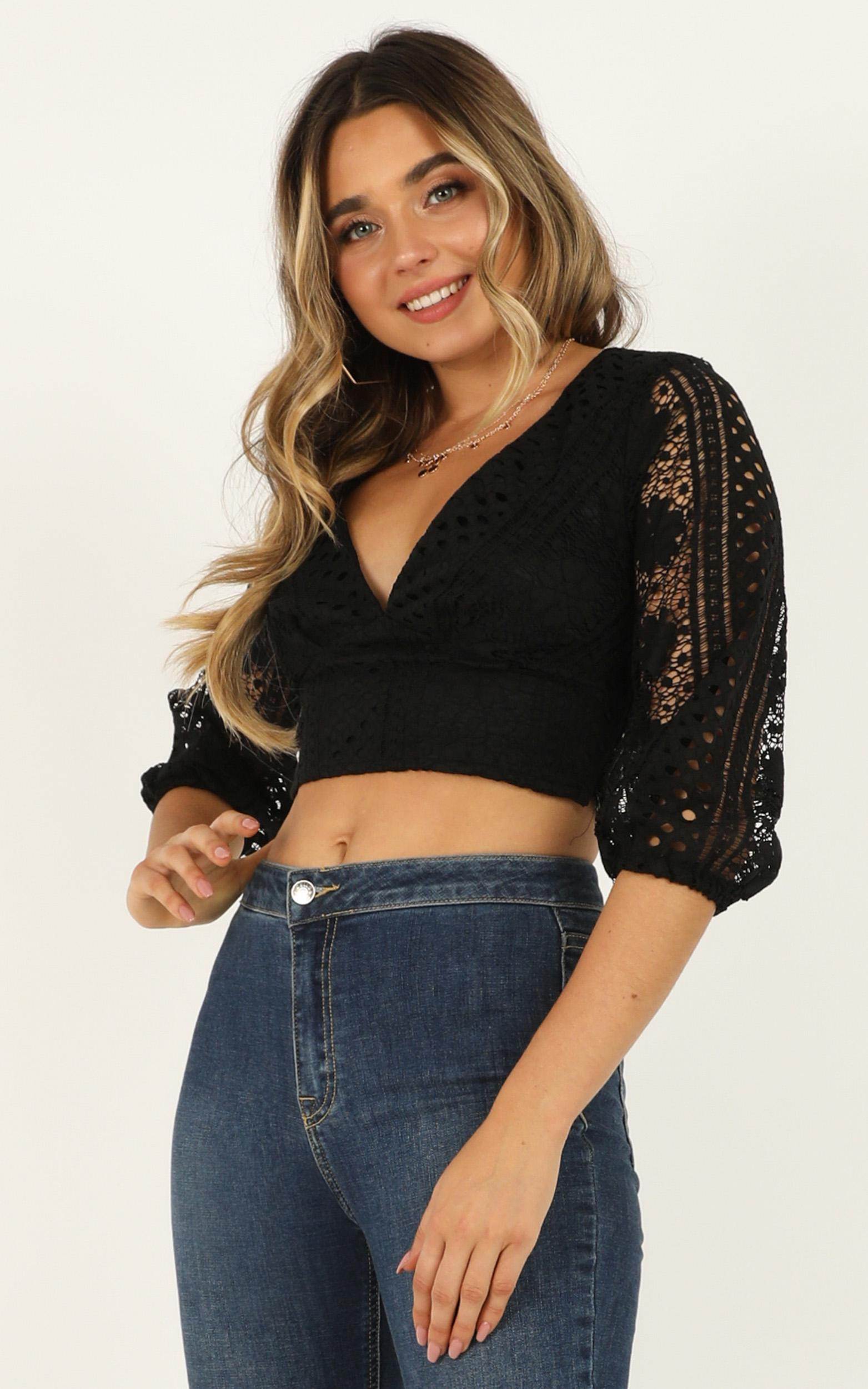 Stars Are Upon Us top in black lace - 12 (L), Black, hi-res image number null