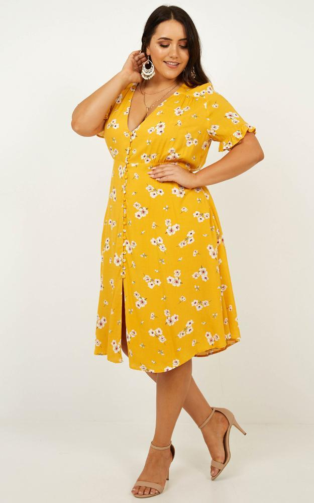 Call me in Dress in Yellow Floral - 12 (L), Yellow, hi-res image number null