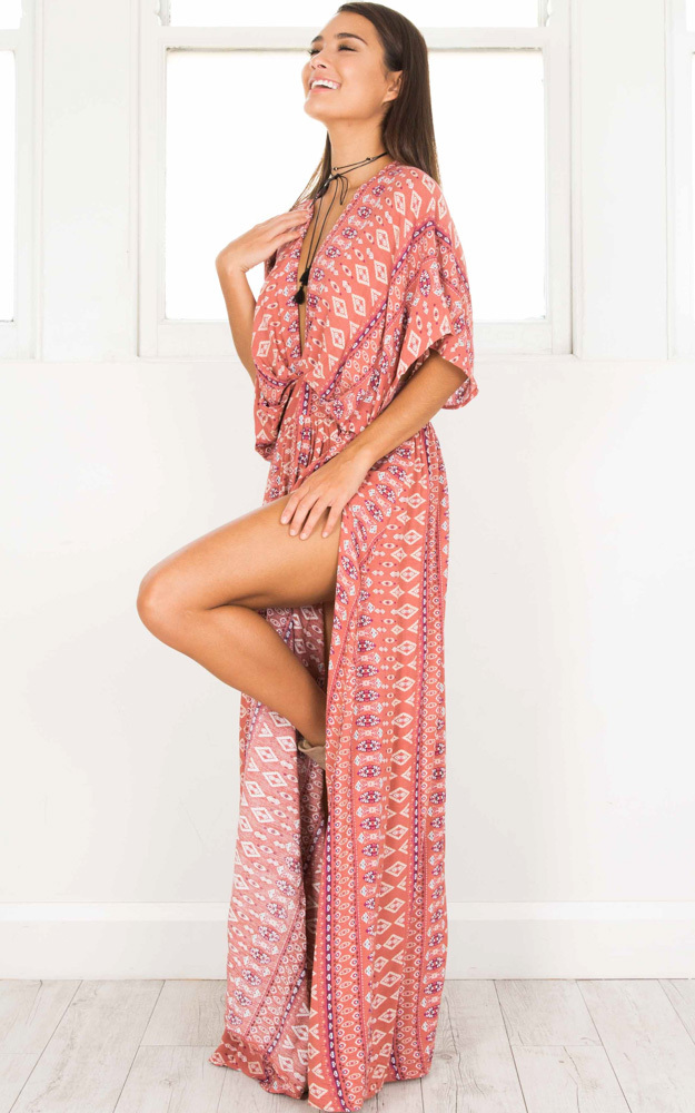 Vacay Ready Maxi Dress in pink print - 14 (XL), Pink, hi-res image number null