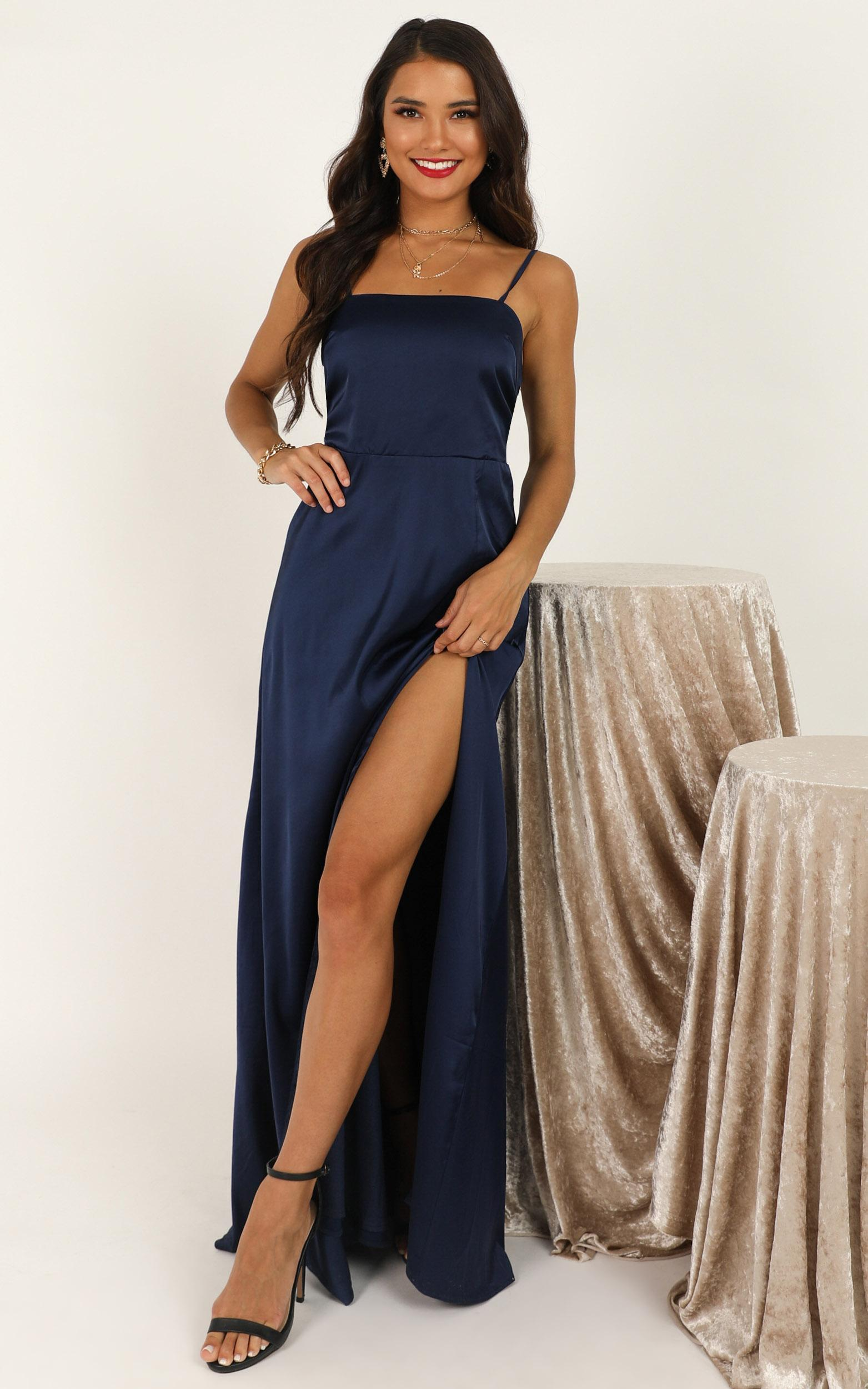 You Got That Vibe Dress in navy satin - 20 (XXXXL), Navy, hi-res image number null