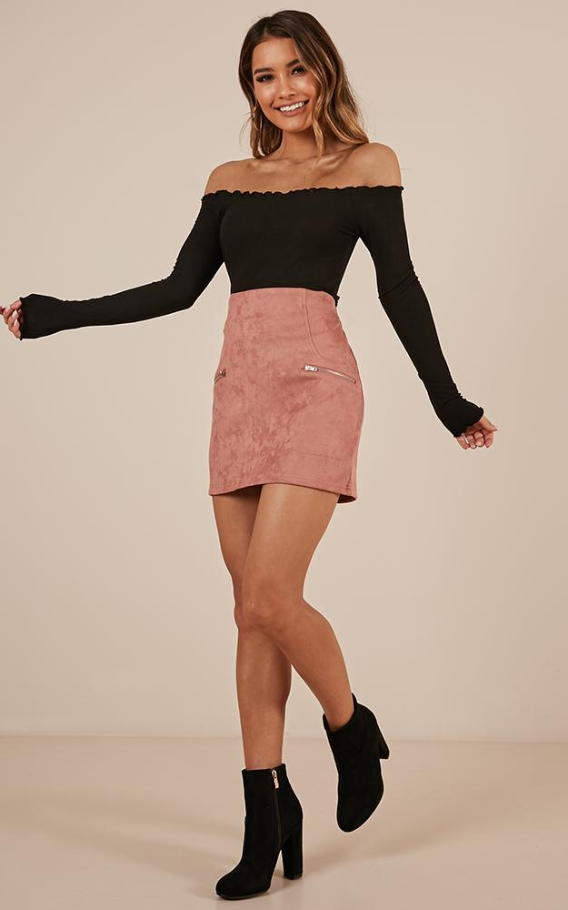 Way Ahead skirt in blush suedette - 6 (XS), Blush, hi-res image number null