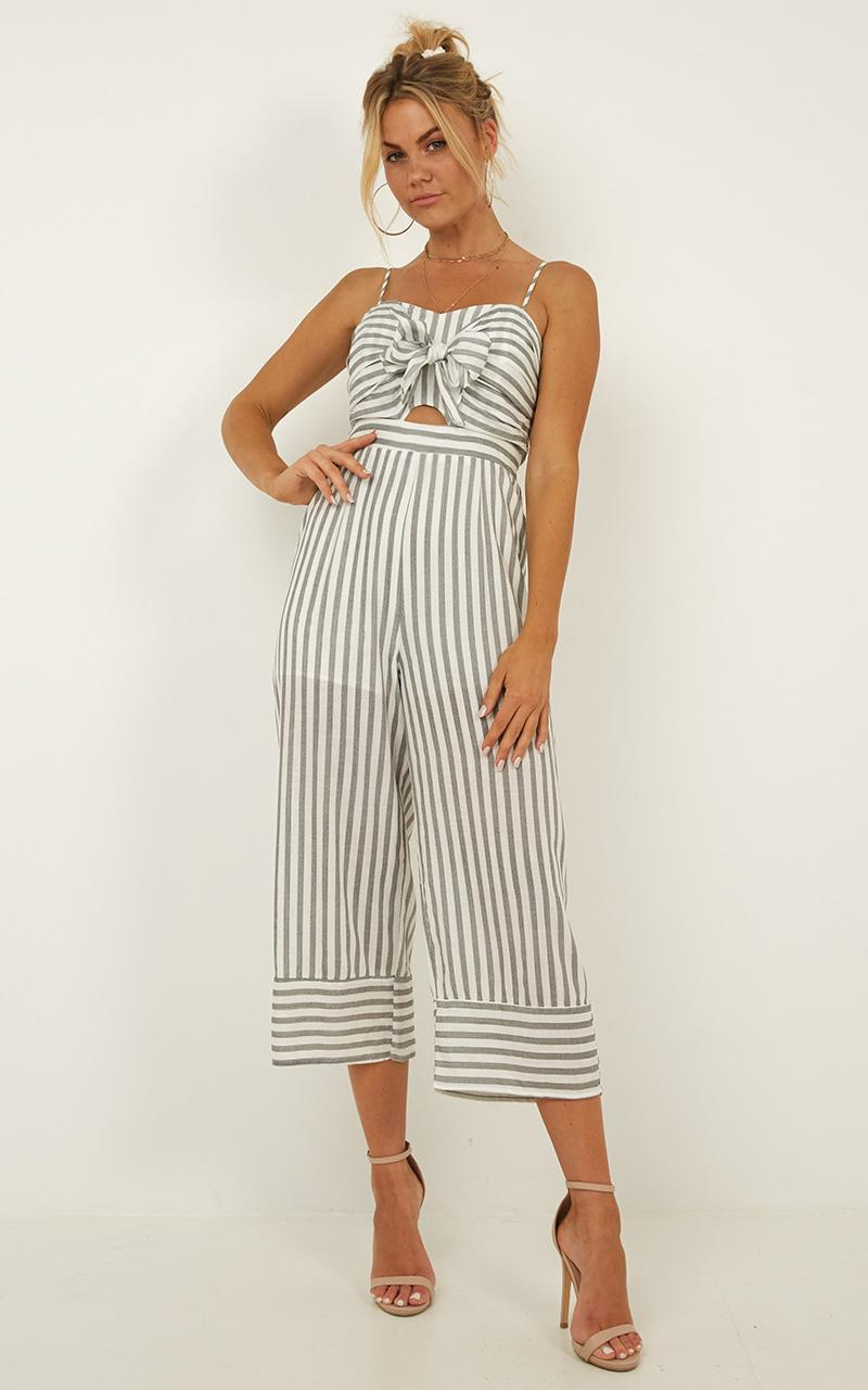 Rhythm Is A Dancer jumpsuit in grey stripe - 12 (L), Grey, hi-res image number null