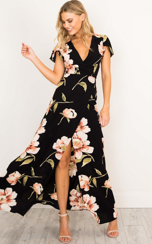 Feel The Burn maxi dress in black print - 14 (XL), Black, hi-res image number null