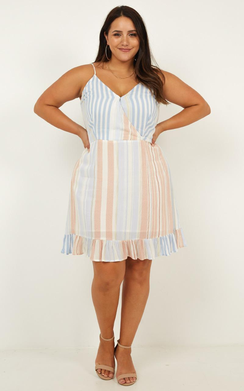 Lonely Lady Dress In Multi Stripe - 16 (XXL), Blue, hi-res image number null