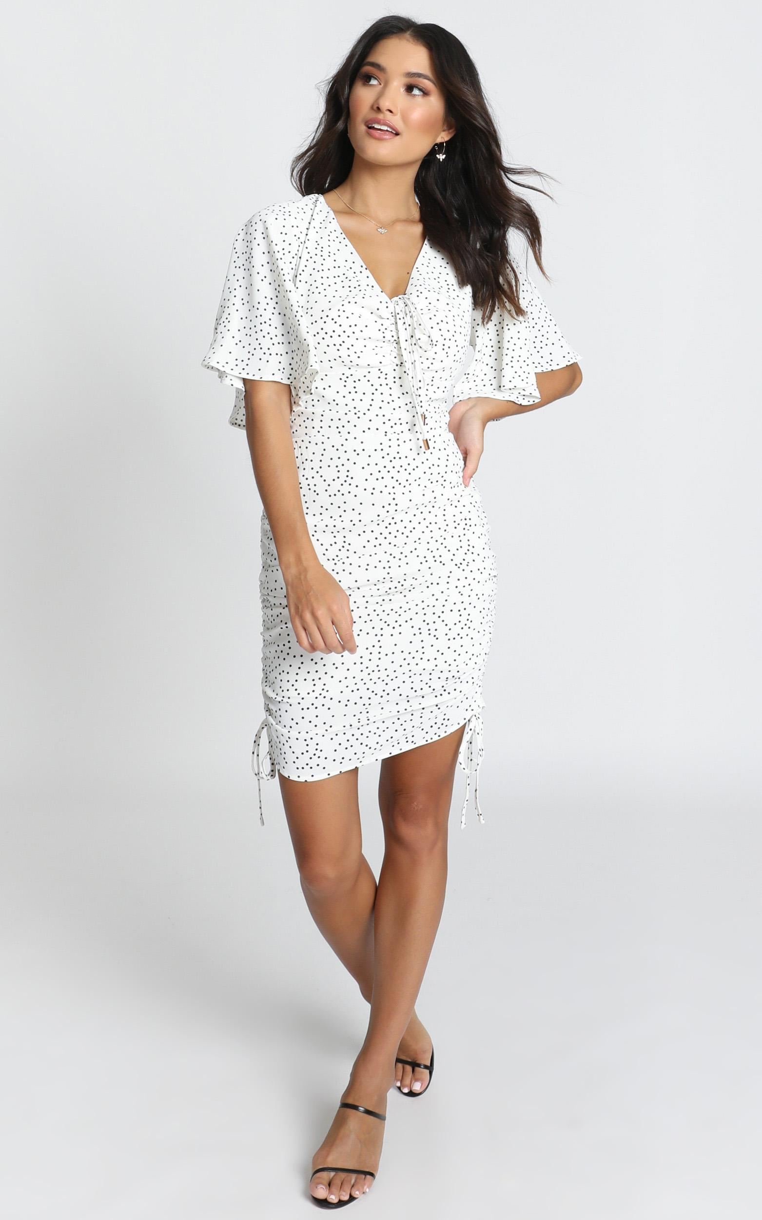 Kelli Ruched Mini Dress in black spot - 12 (L), White, hi-res image number null