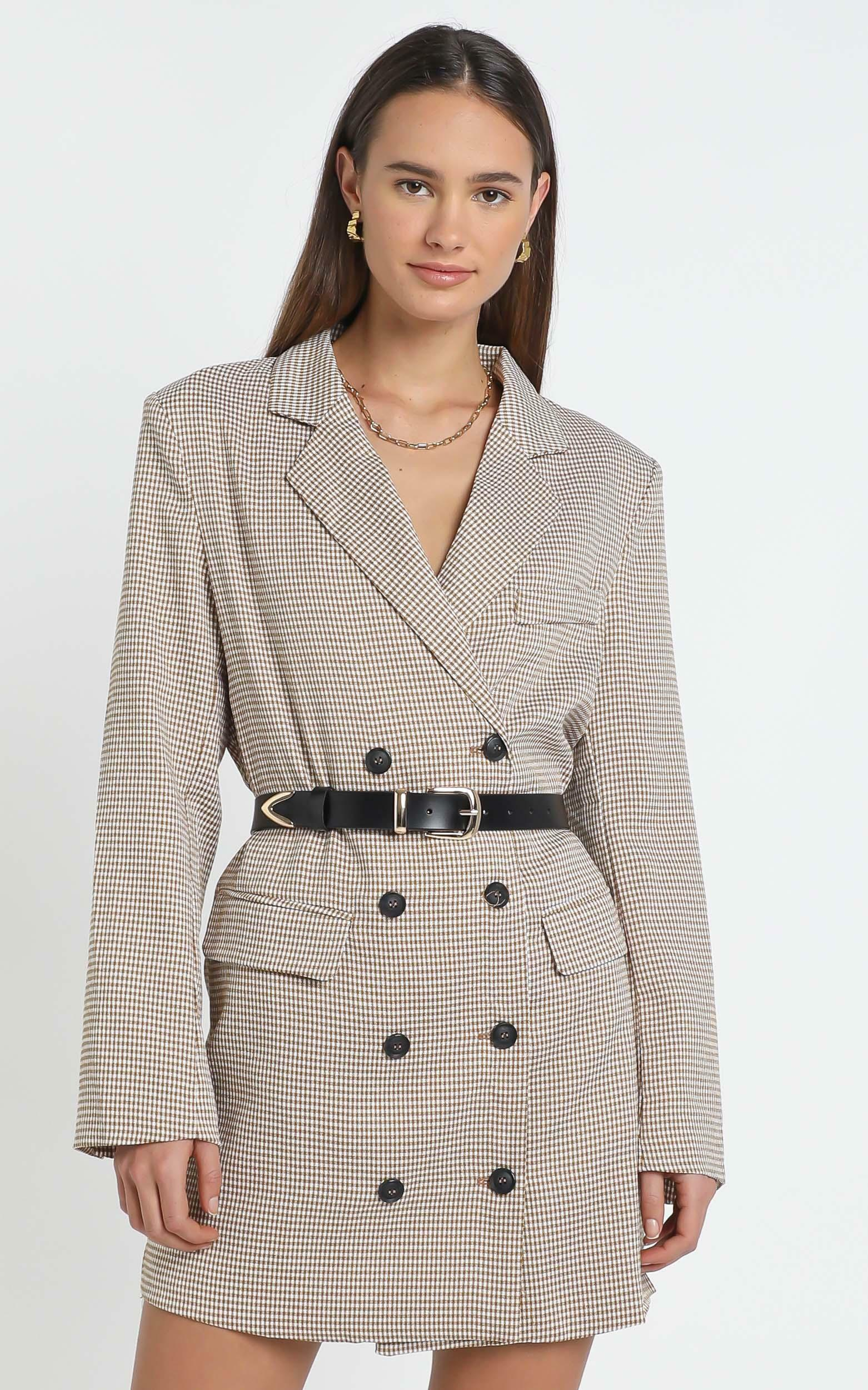 Lioness - Moulin Rouge Blazer Dress in Beige Check - 12 (L), Beige, hi-res image number null
