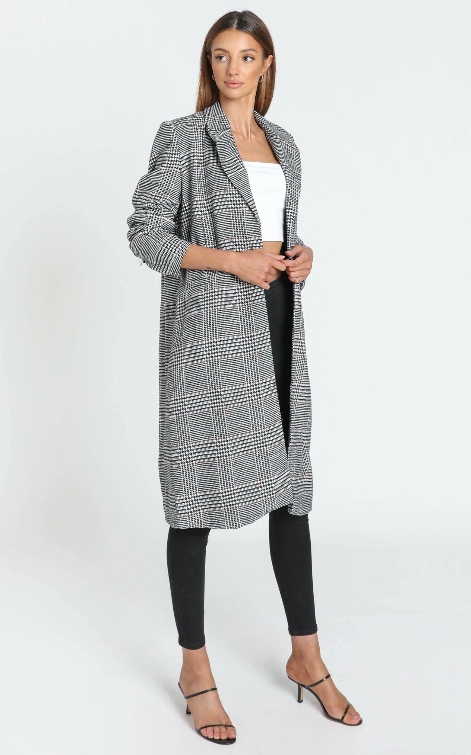 Aidan Coat in Black Check - 6 (XS), Black, hi-res image number null