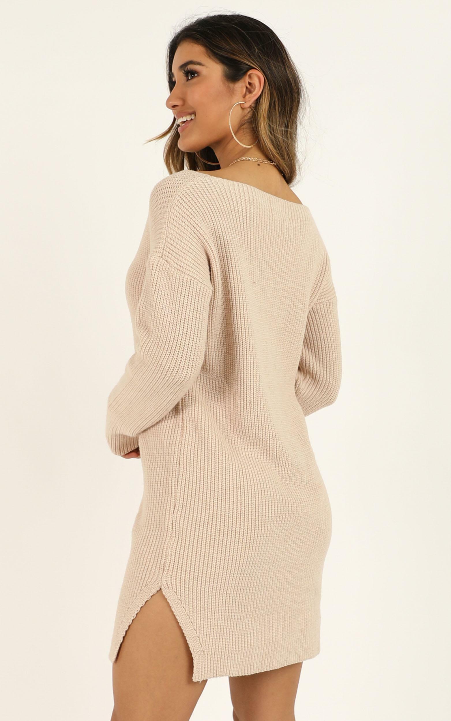 On The Floor knit dress in beige - M/L, Beige, hi-res image number null