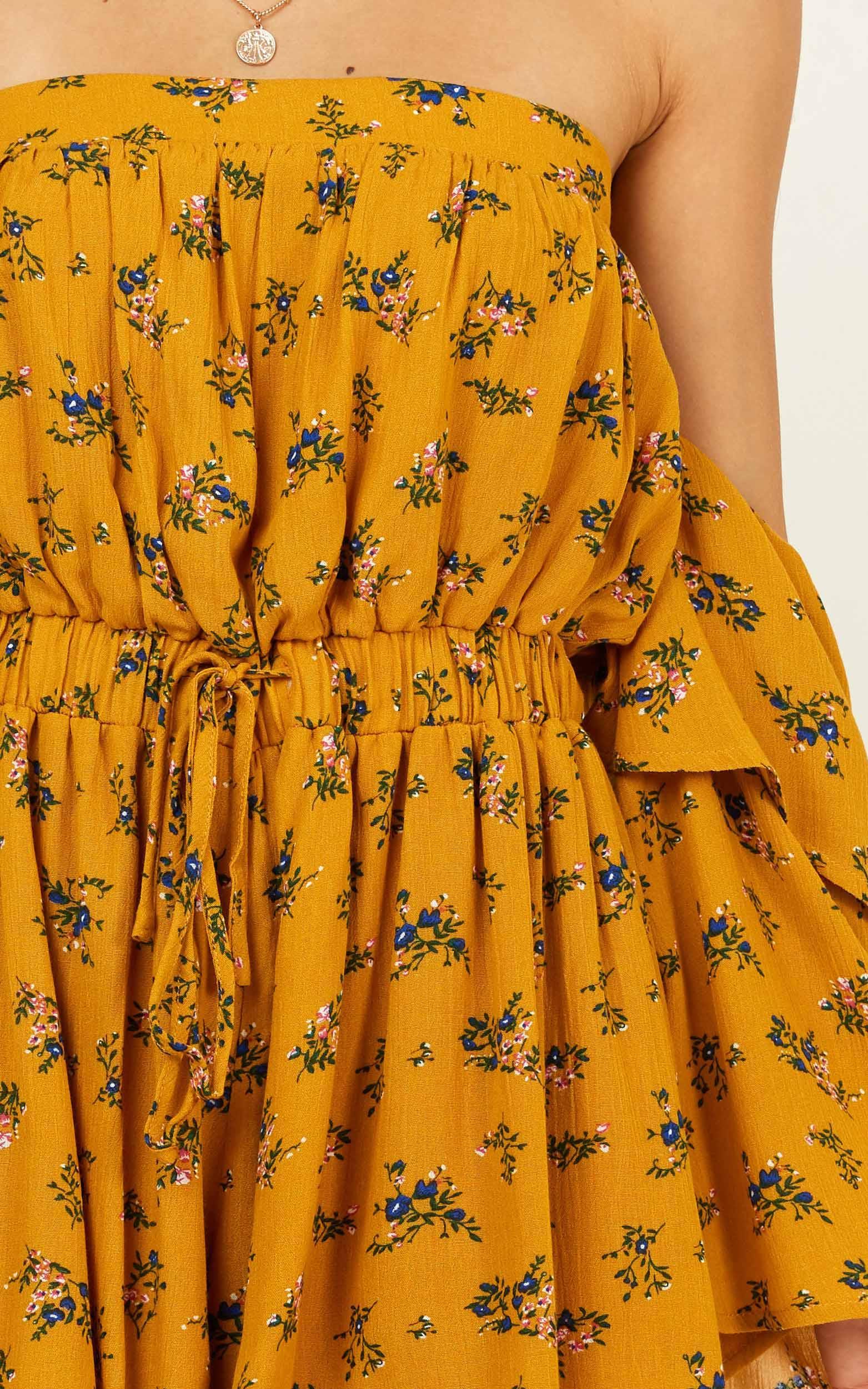 Keeping Me Playsuit in mustard floral - 20 (XXXXL), Mustard, hi-res image number null