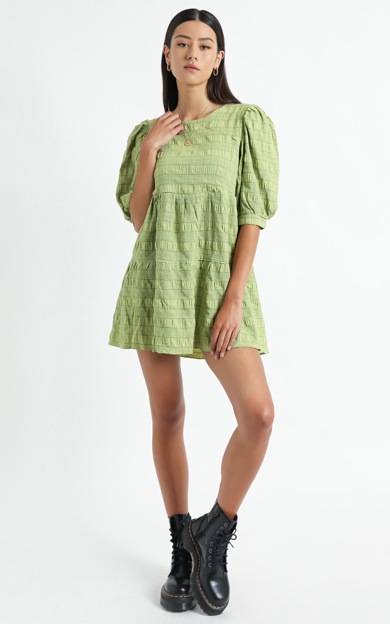 Darcia Dress in Green Check - 6 (XS), Green, hi-res image number null