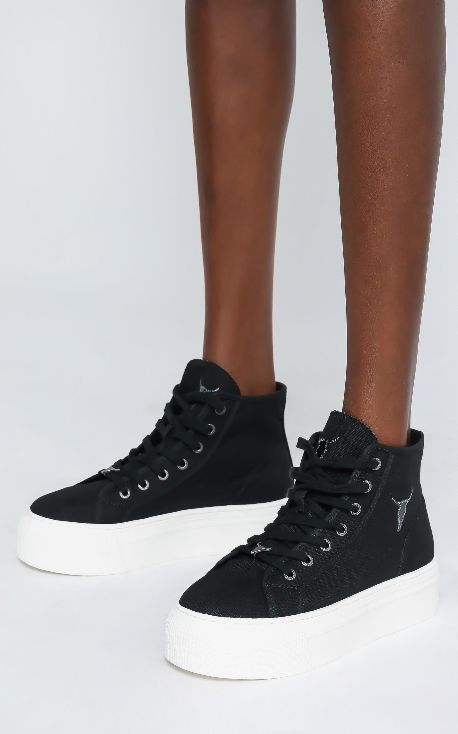 Windsor Smith - Runaway Sneakers in Black Canvas - 6, Black, hi-res image number null