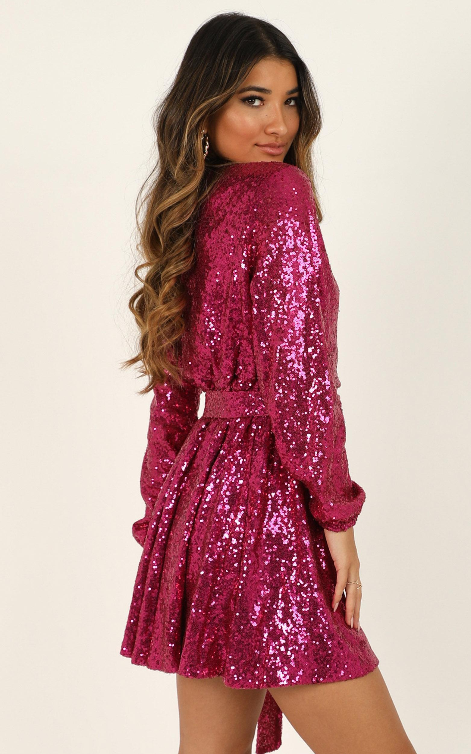 Three Of Us Dress in pink sequin - 14 (XL), PNK2, hi-res image number null