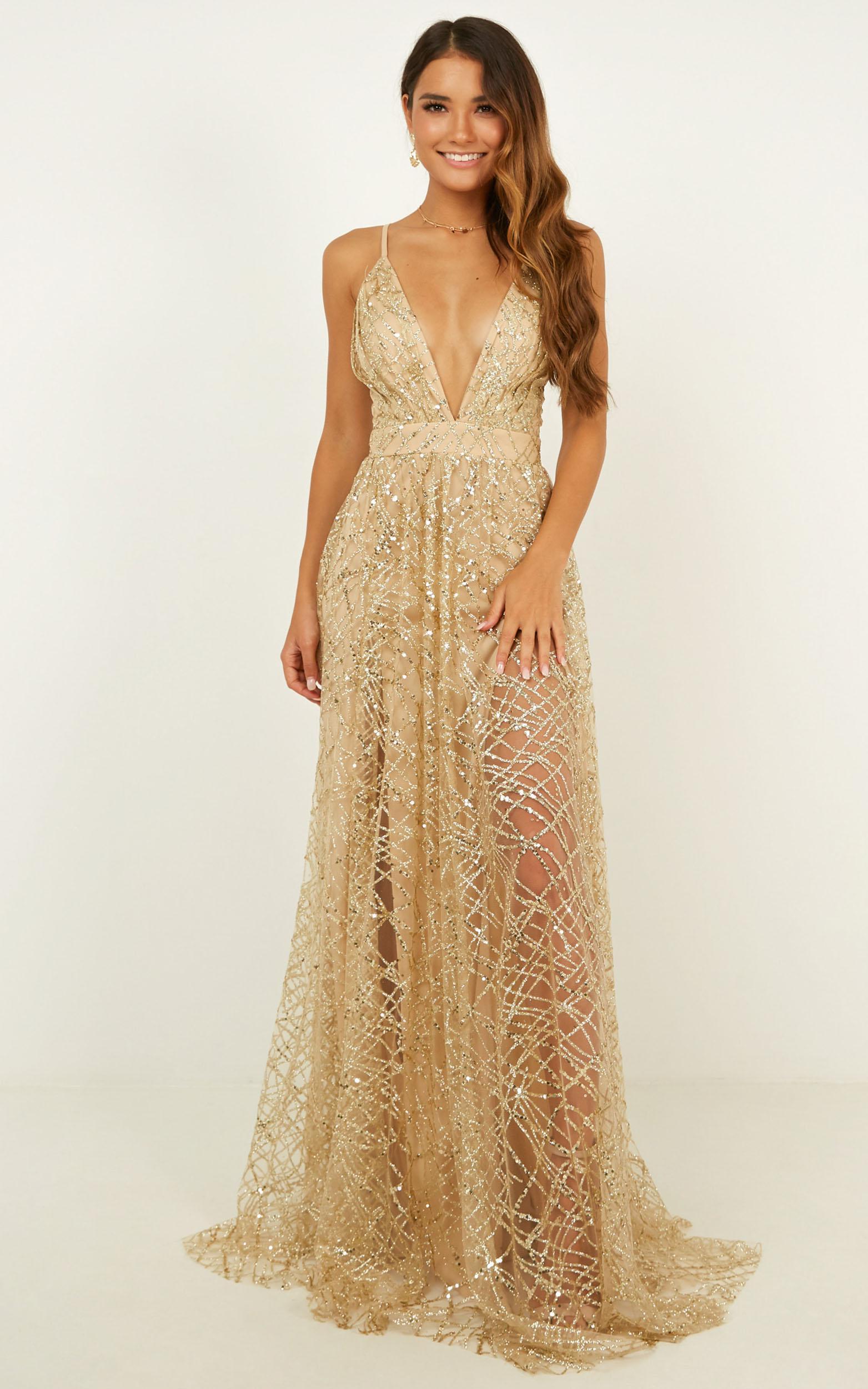 Eternal Sunshine Maxi Dress In Gold Sequin - 14 (XL), Gold, hi-res image number null
