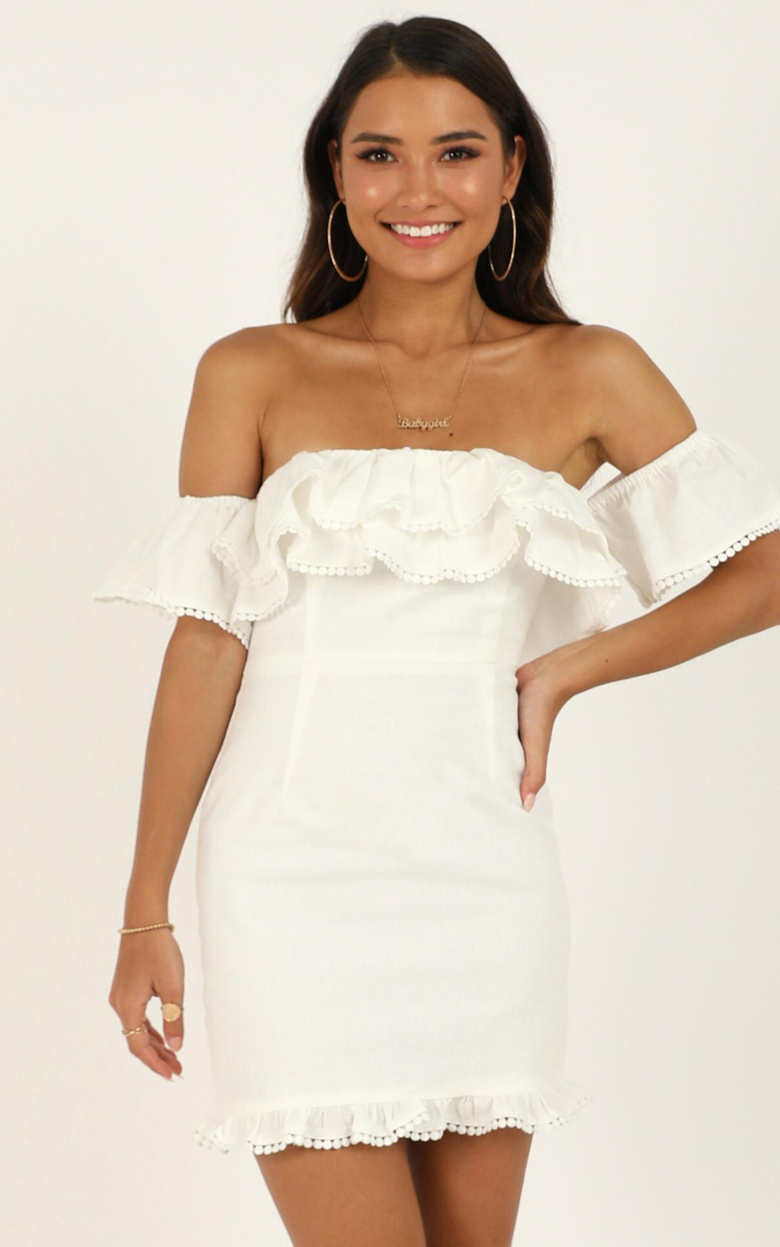 Youre My Butterfly Dress in white linen look - 20 (XXXXL), White, hi-res image number null