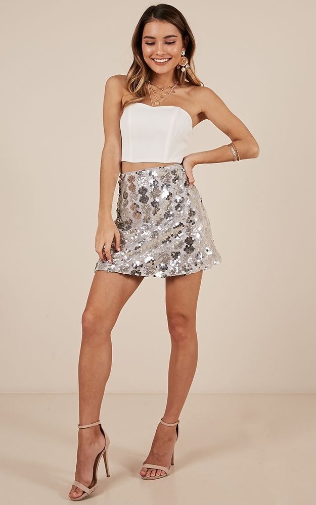 Whats Right Skirt in Silver Sequin- 20 (XXXXL), Silver, hi-res image number null